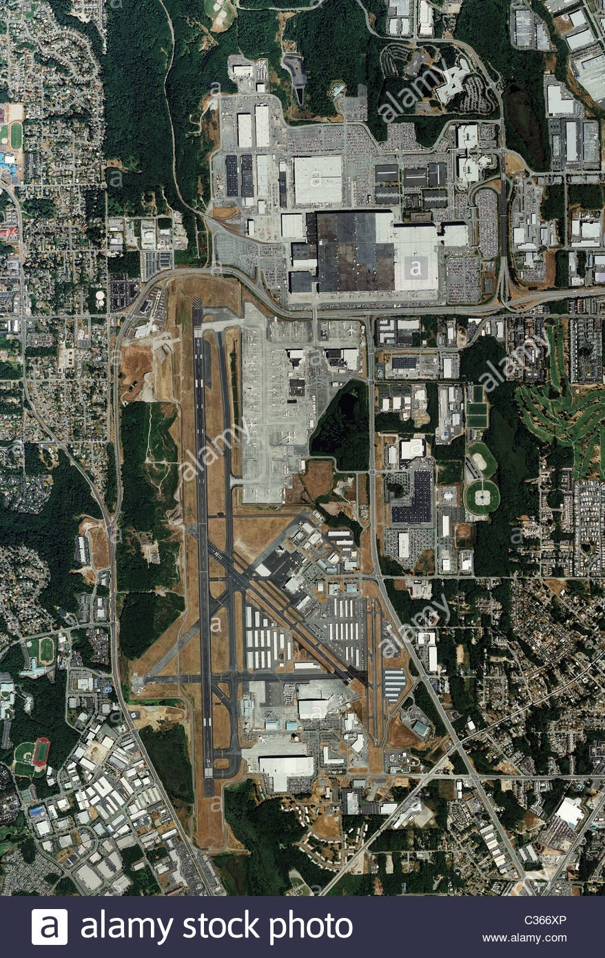 Aerial Map View Boeing Everett Factory And Paine Field inside Boeing Factory Everett Map