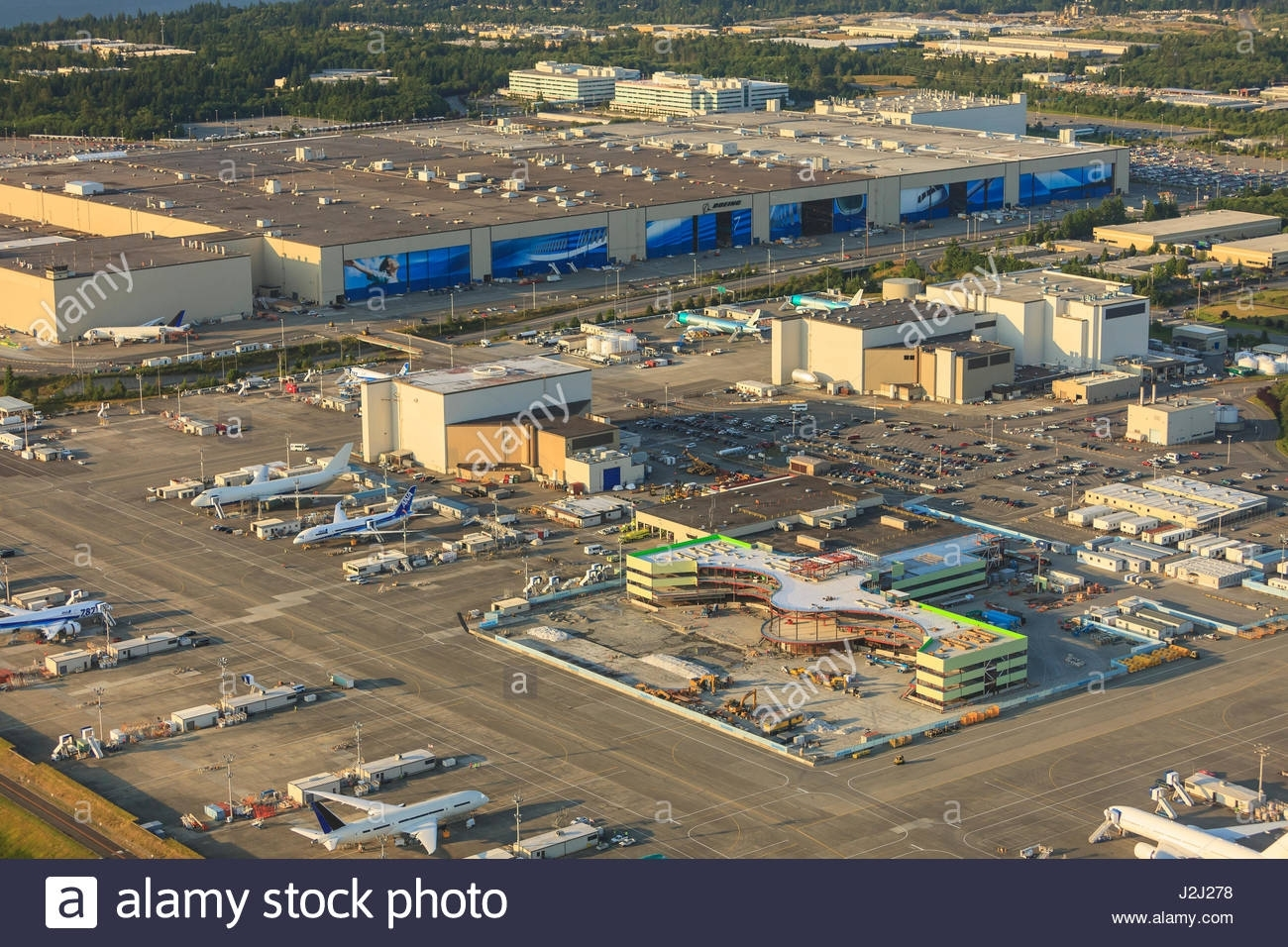 Aerial View Of Paine Field And Boeing Everett Plant, Largest inside Boeing Factory Tour Map