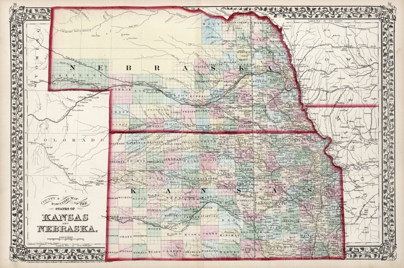 Antique Maps Of Kansas with Does Kansas Border On Nebraska