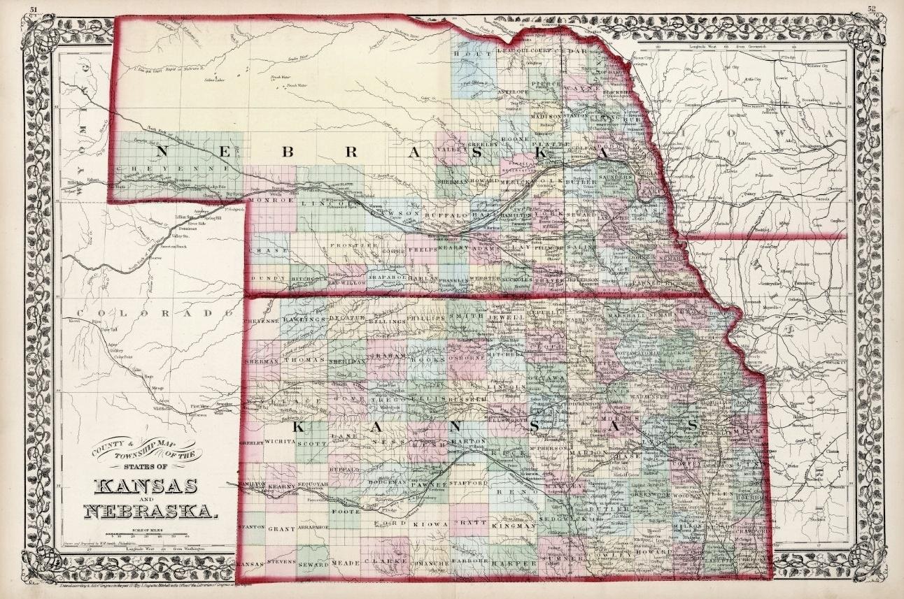 Antique Maps Of Kansas with Does Kansas Border On Nebraska