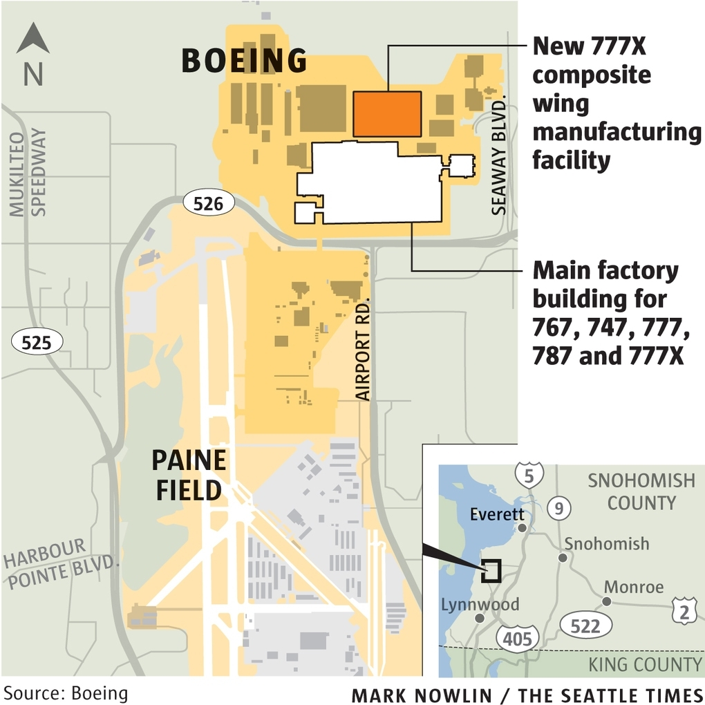 At Boeing's 777X Wing Factory, Robots Get Big Jobs | The for Boeing Factory Everett Map
