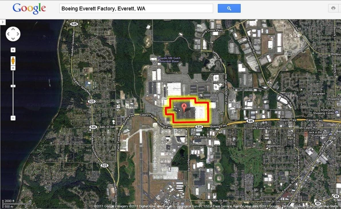 Boeing Everett Factory Perspective Compares Size Disneyland with Boeing Everett Factory Google Maps