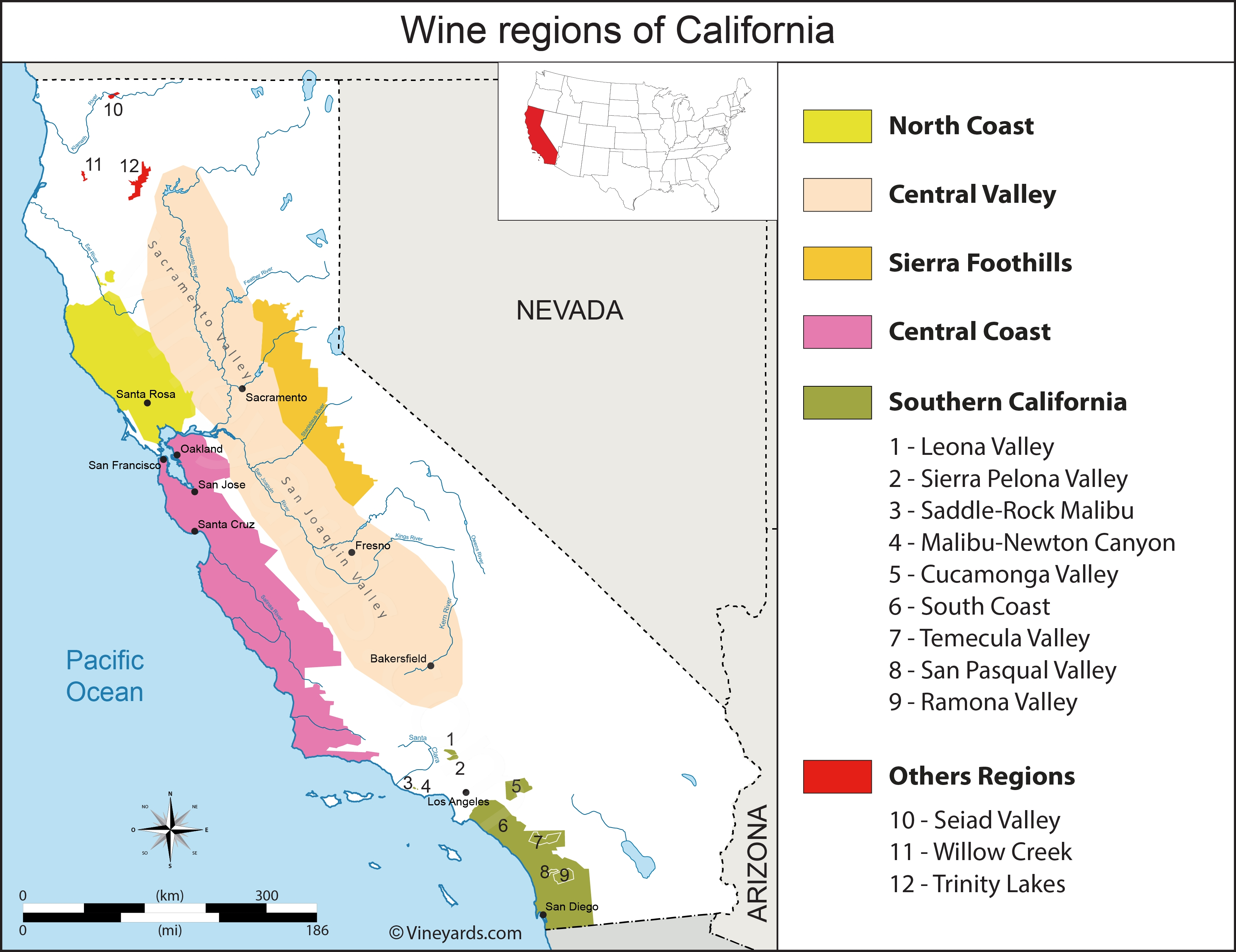 California Map Of Vineyards Wine Regions with Map Northern California Foothills