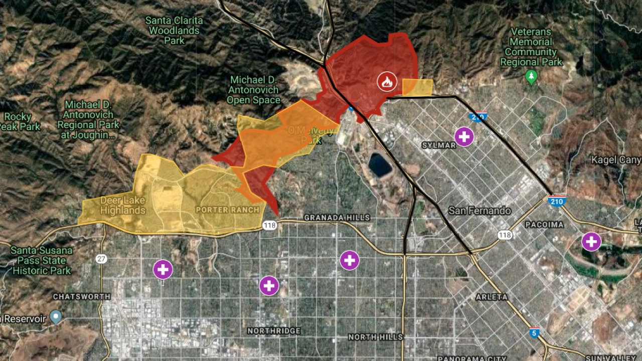 Interactive Map: Saddleridge Fire Forces Evacuations In within Los Angeles Fire Map