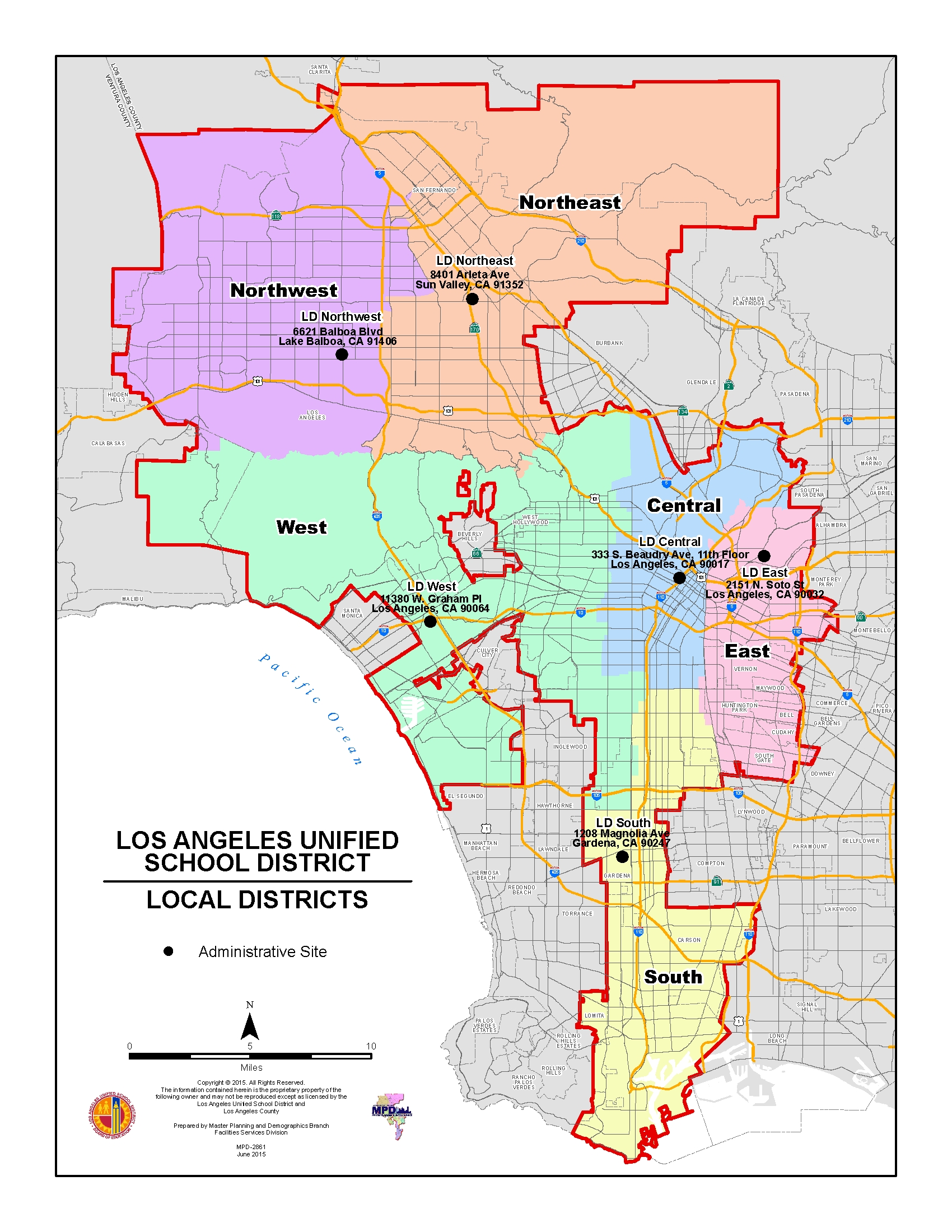 Lausd Maps / Local District Maps 2015 - 2016 with Los Angeles School District Boundaries