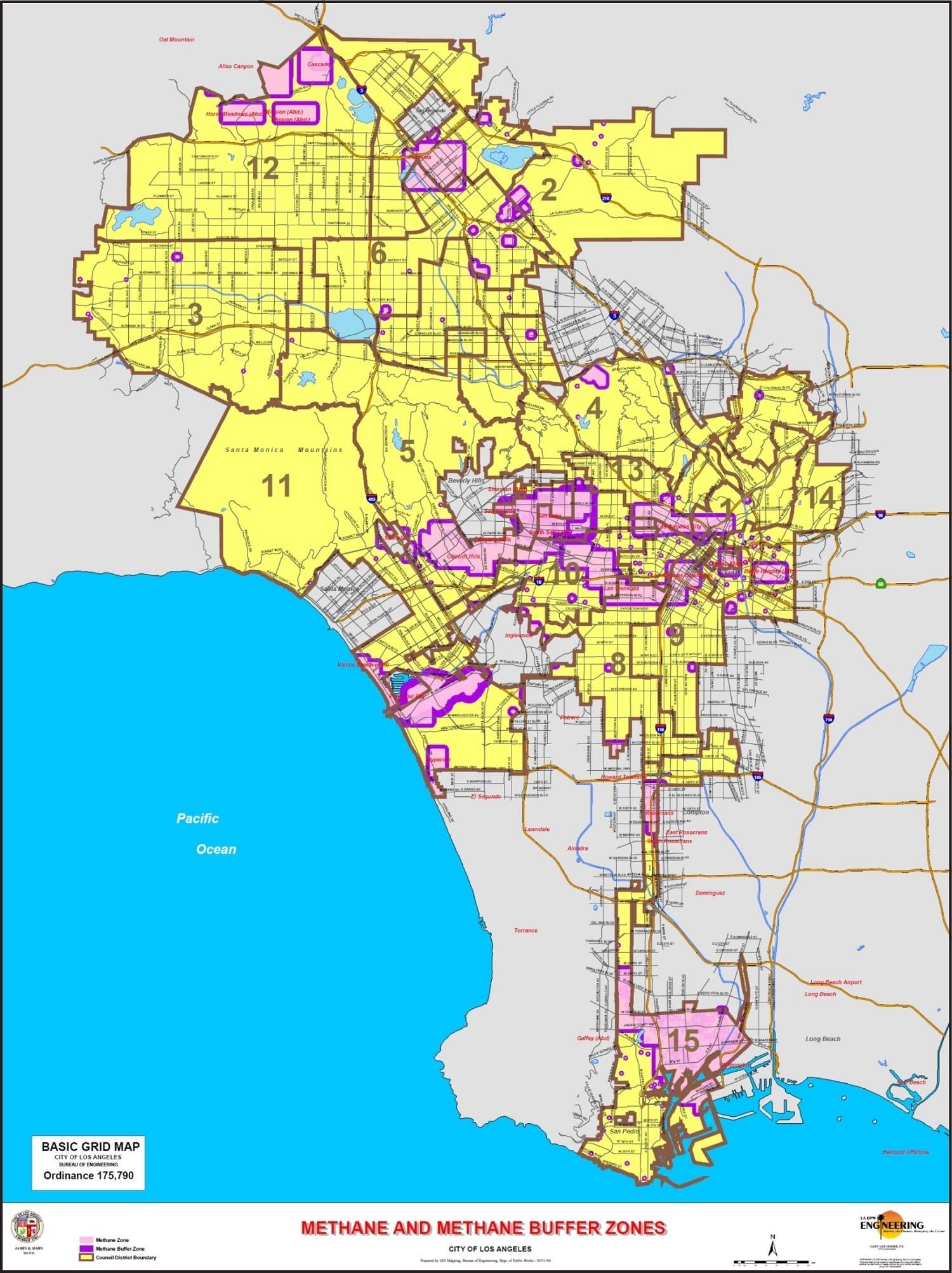 Los Angeles Methane Zones Map » Geo Forward in Los Angeles Methane Map