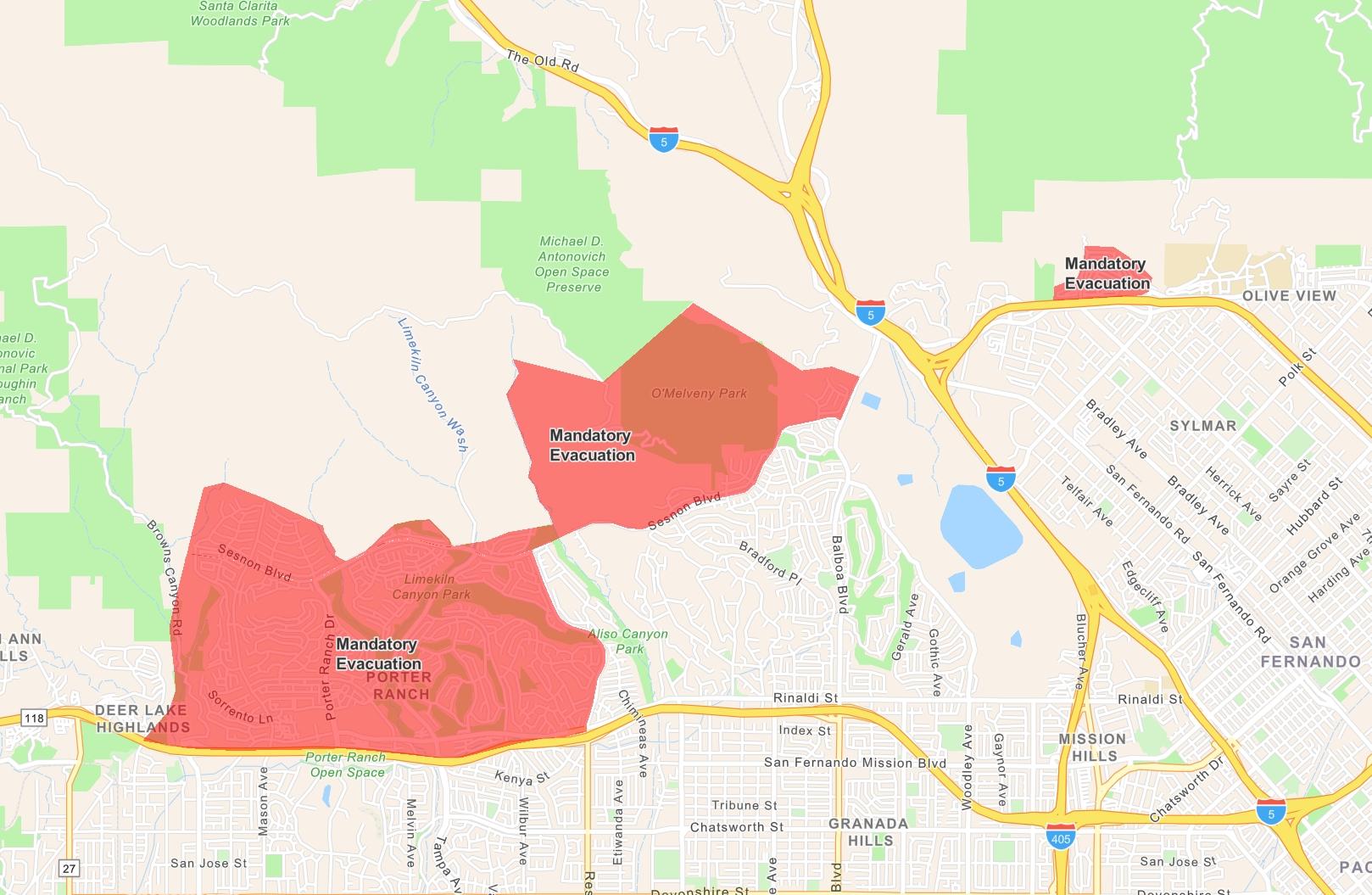 Los Angeles Saddleridge Wildfire Evacuation Map: 100,000 within Los Angeles Evacuation Map