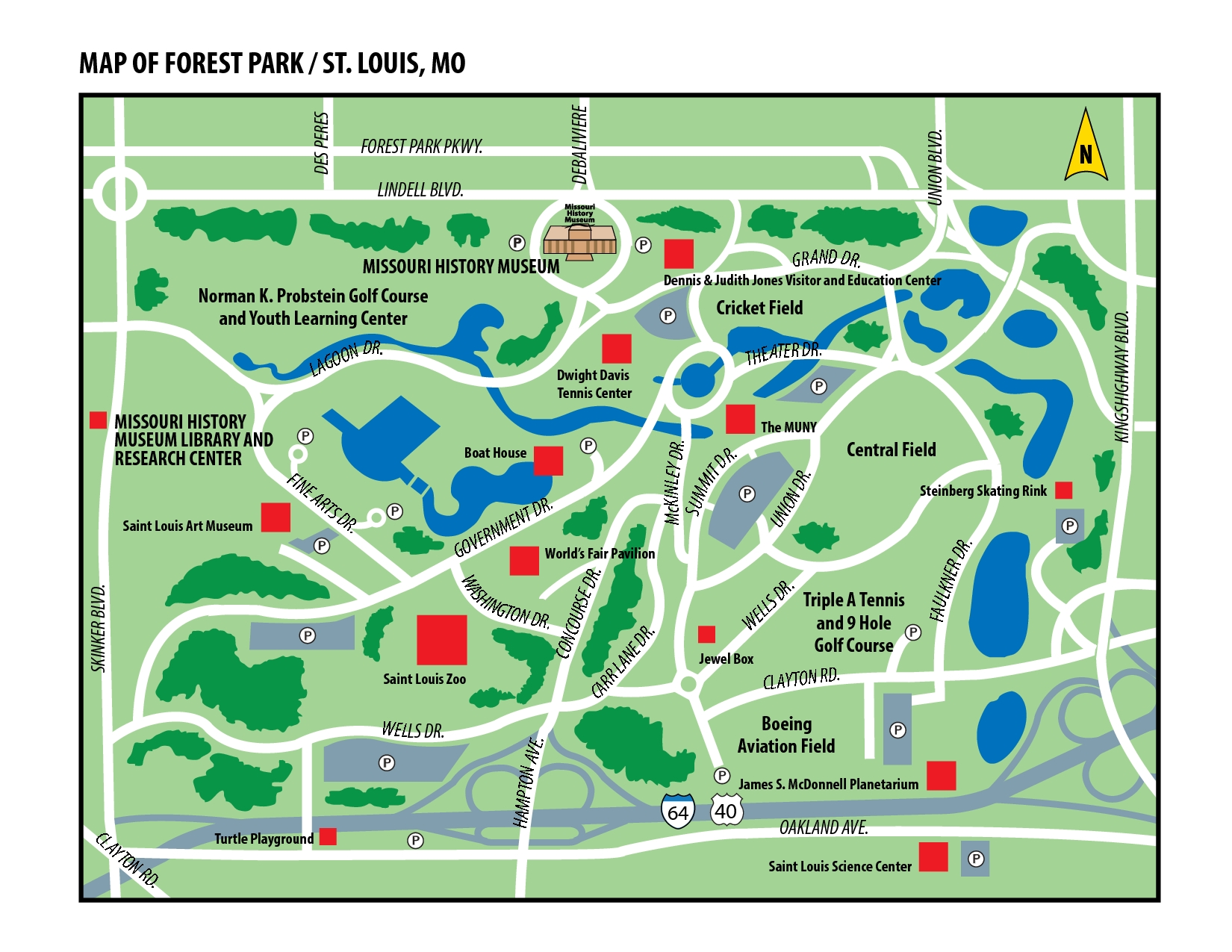 Map Of Forest Park In St. Louis, Missouri | St. Louis inside Boeing St. Louis Facility Map