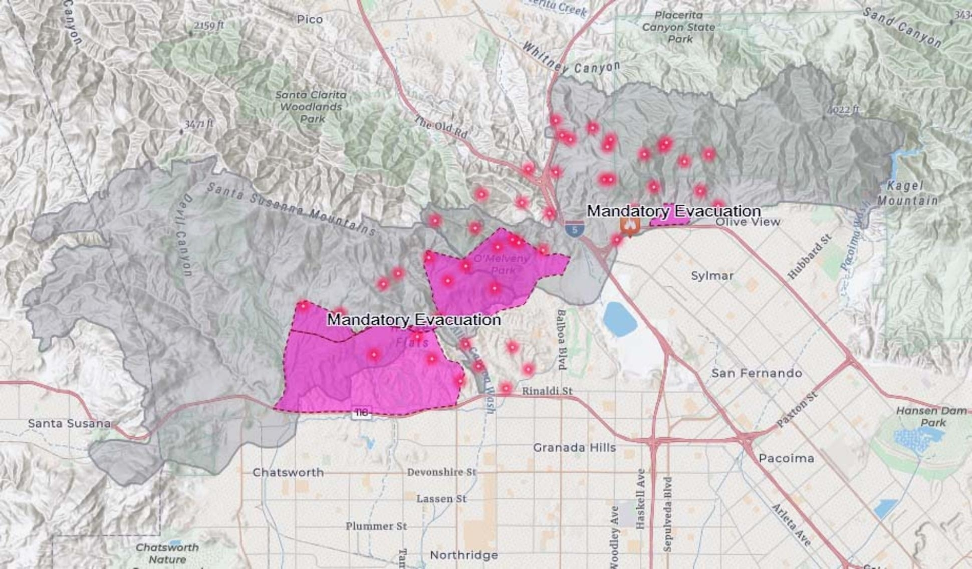 Map: See Where The Saddleridge Fire Is Burning - Nbc pertaining to Los Angeles Wildfires Map