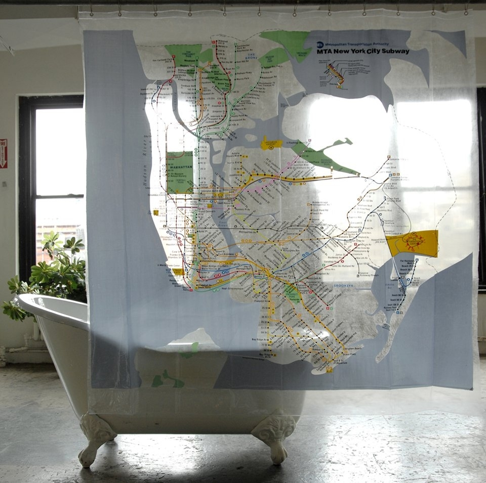 Map Series Shower Curtains, Nyc Subway for Mta Ny Showercurtain