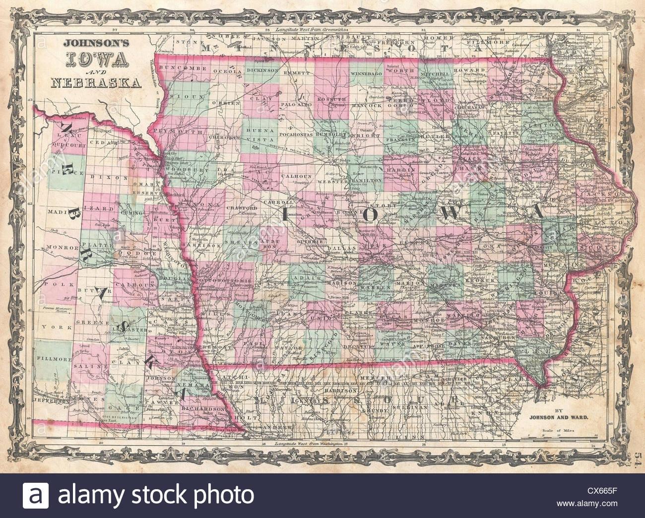 Nebraska Iowa Map Stockfotos & Nebraska Iowa Map Bilder - Alamy with Map Of Nebraska Iowa Border