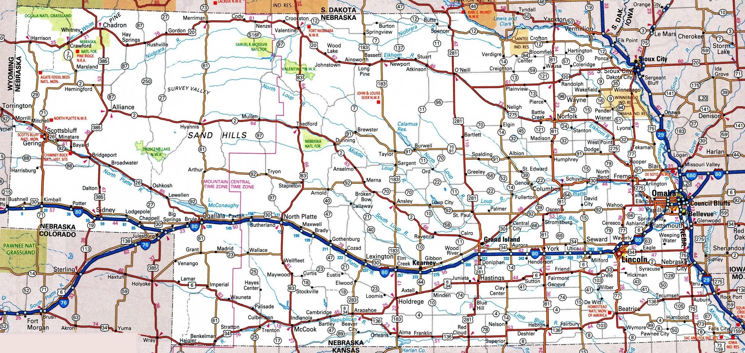 Nebraska Road Map pertaining to Nebraska Highway Map With Mile Markers