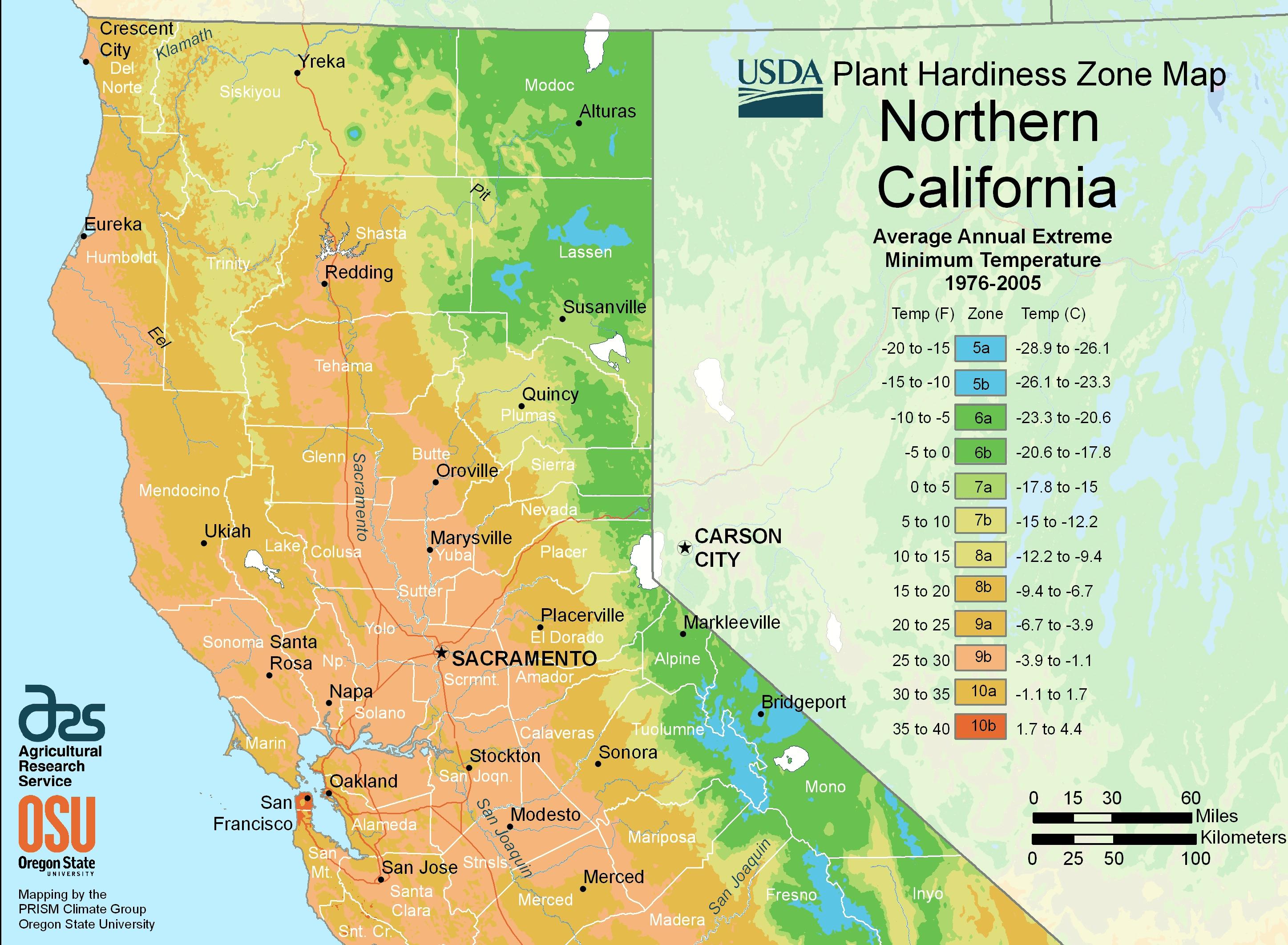 North California Plant Hardiness Zone Map • Mapsof for California Zone Map