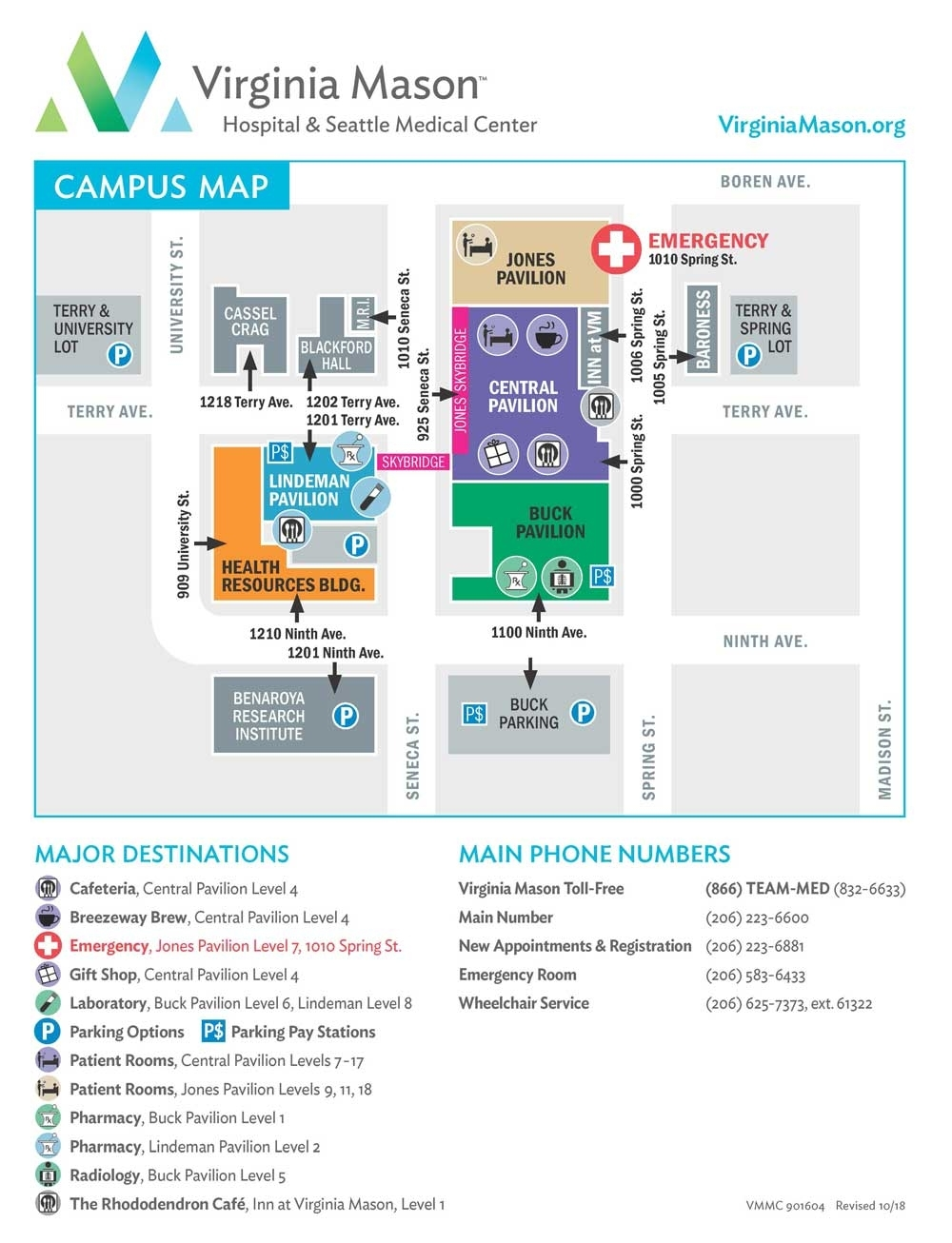 Seattle Campus Map & Directory   Virginia Mason, Seattle intended for Boeing Facility Map
