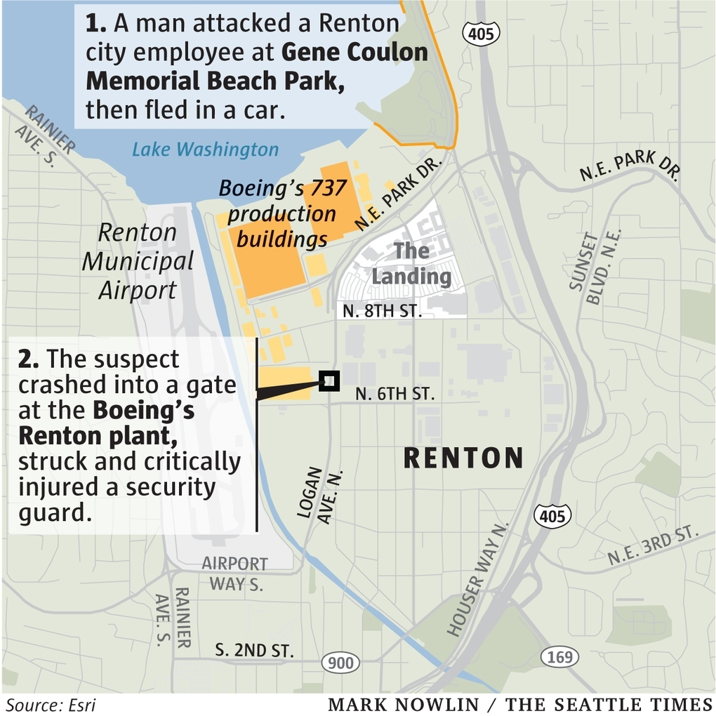 Security Guard Injured When Suspect Crashes Into Gate At for Boeing Renton Factory Map