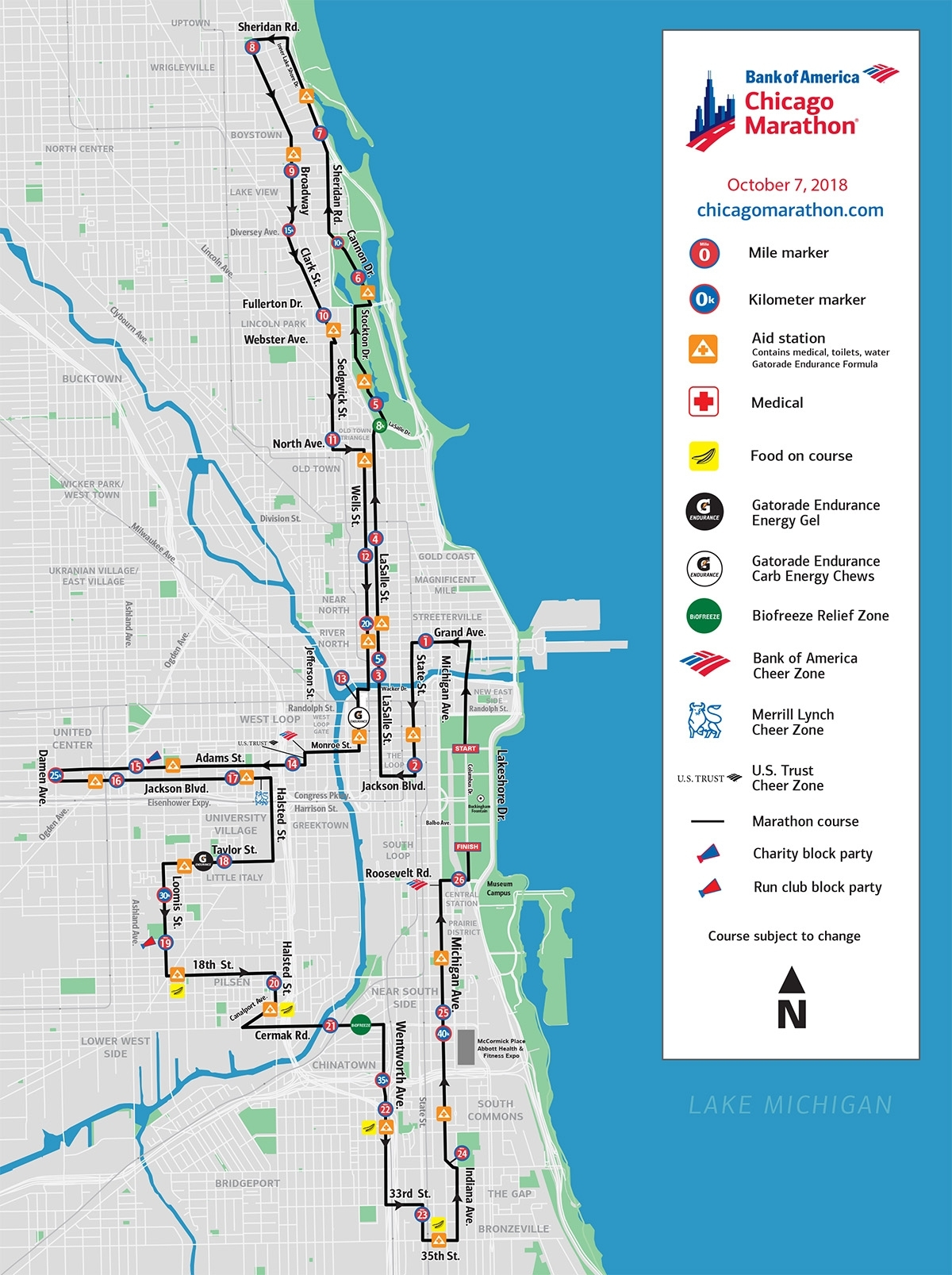 See The New Course For The 2018 Bank Of America Chicago inside 2019 Chicago Marathon Course Map