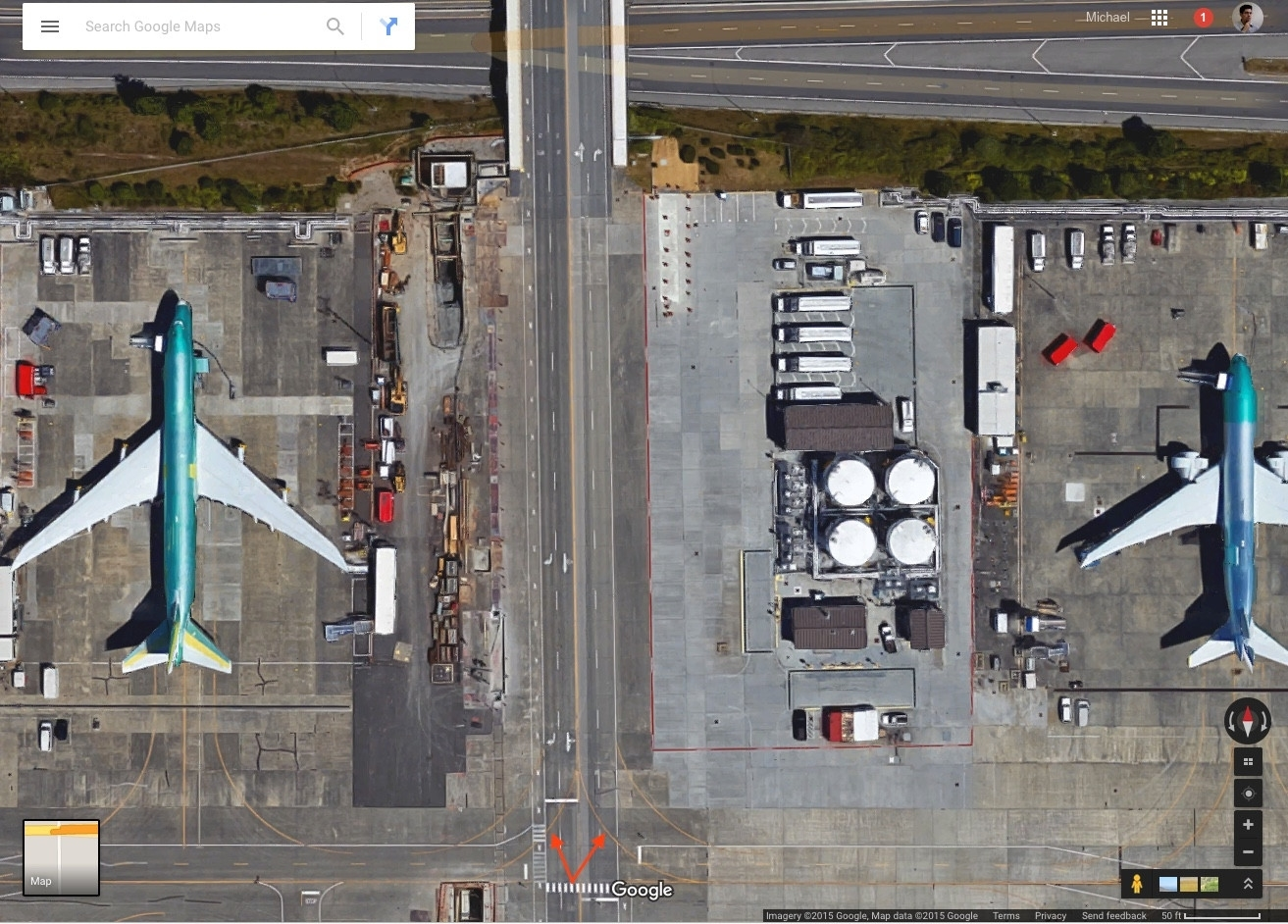 Where Is The Taxiway Between The Boeing Factory And Paine intended for Boeing Factory Everett Map