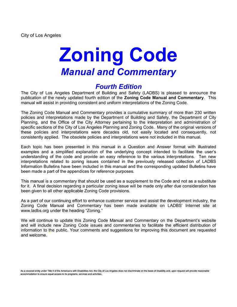Zoning Code pertaining to Ladbs Zoning Summary