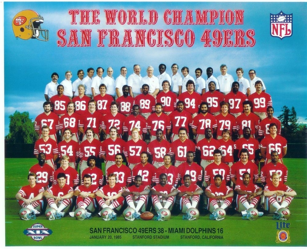 1984 1985 San Francisco 49Ers Super Bowl Champions 8X10 Team for San Francisco 49Ers Nfl Championships 1985