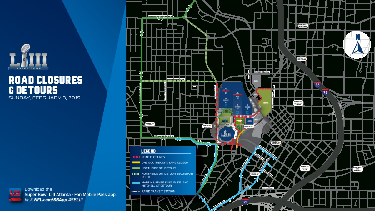 $20+ Million Pedestrian Bridge To Mercedes-Benz Stadium To in Super Bowl Experience Atlanta Map