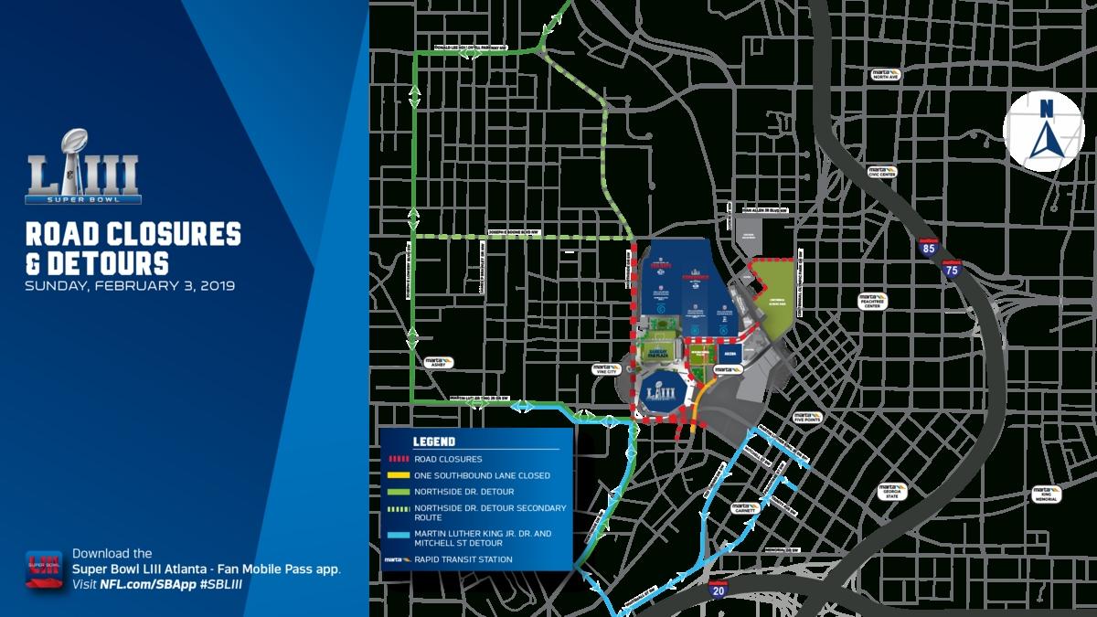 $20+ Million Pedestrian Bridge To Mercedes-Benz Stadium To in Super Bowl Experience Atlanta Map