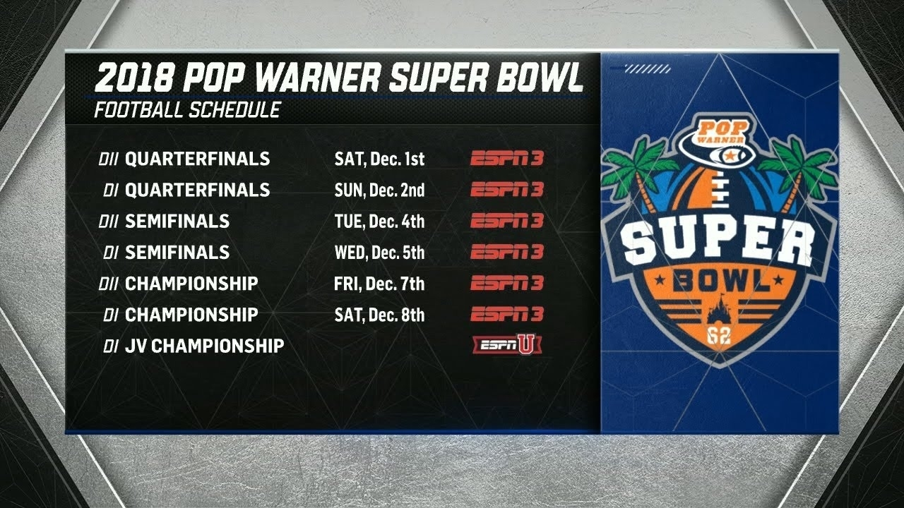 2018 Pop Warner Super Bowl Bracket Release Show intended for Pop Warner Super Bowl