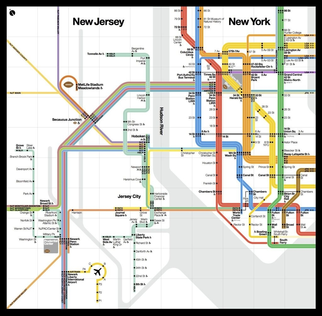 A Beautiful New Public Transit Map Shows How New York And within Vignelli Super Bowl Map