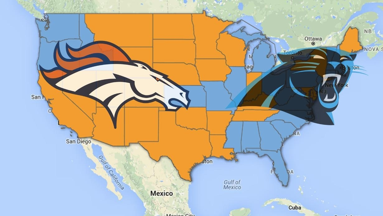 A Look At Where Super Bowl 50 Rooting Interest Lies intended for Map Of Who Is Rooting For Super Bowl