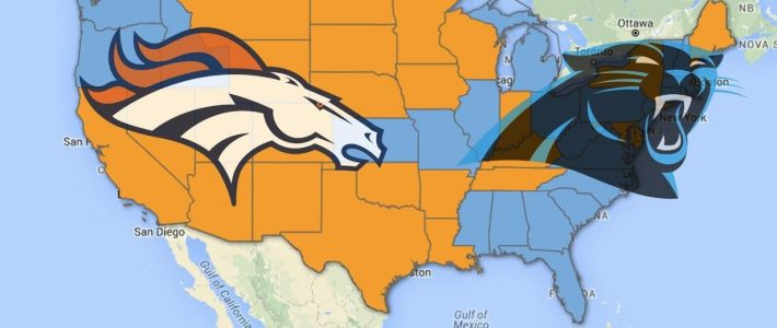 A Look At Where Super Bowl 50 Rooting Interest Lies with Super Bowl Us Map
