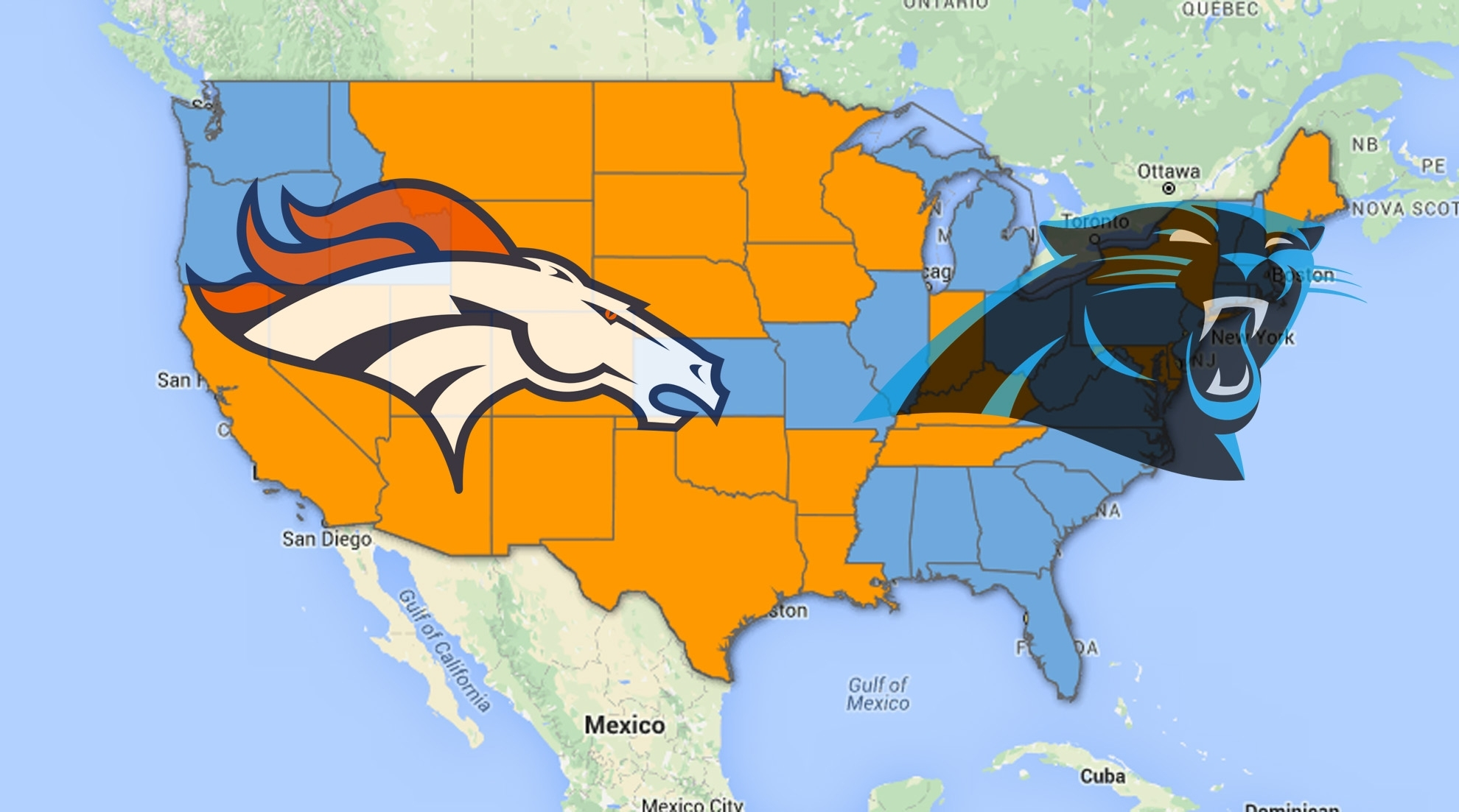 A Look At Where Super Bowl 50 Rooting Interest Lies within Super Bowl Fan Map