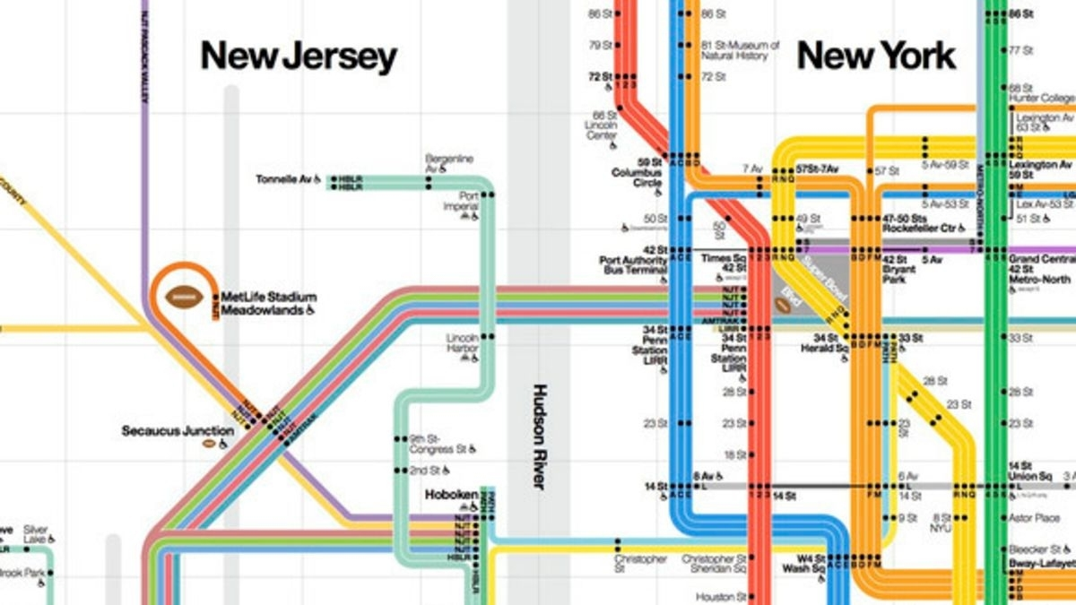 A New York City Transit Map Custom-Made For The Super Bowl in Vignelli Super Bowl Map