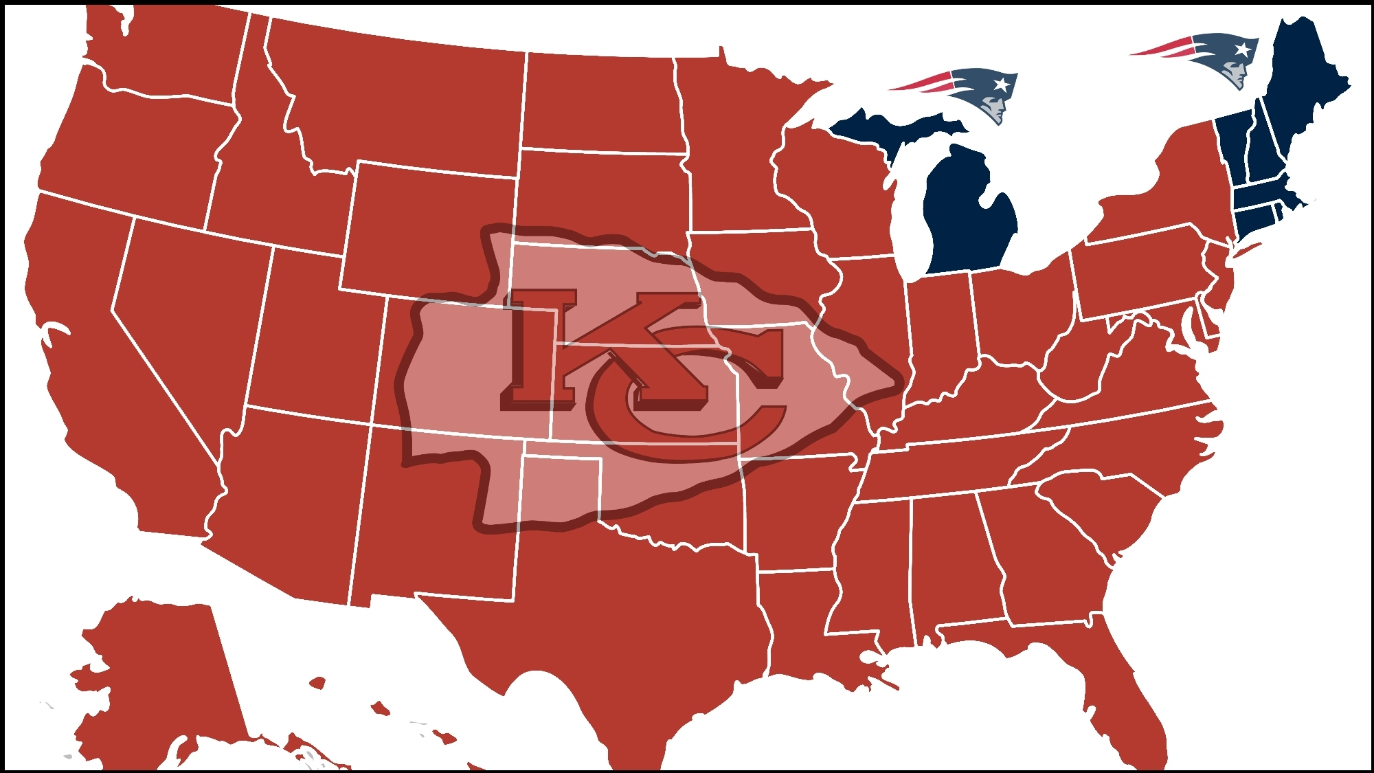 Almost Entire Country Will Be Rooting Against Patriots In pertaining to Super Bowl 53 Rooting Map