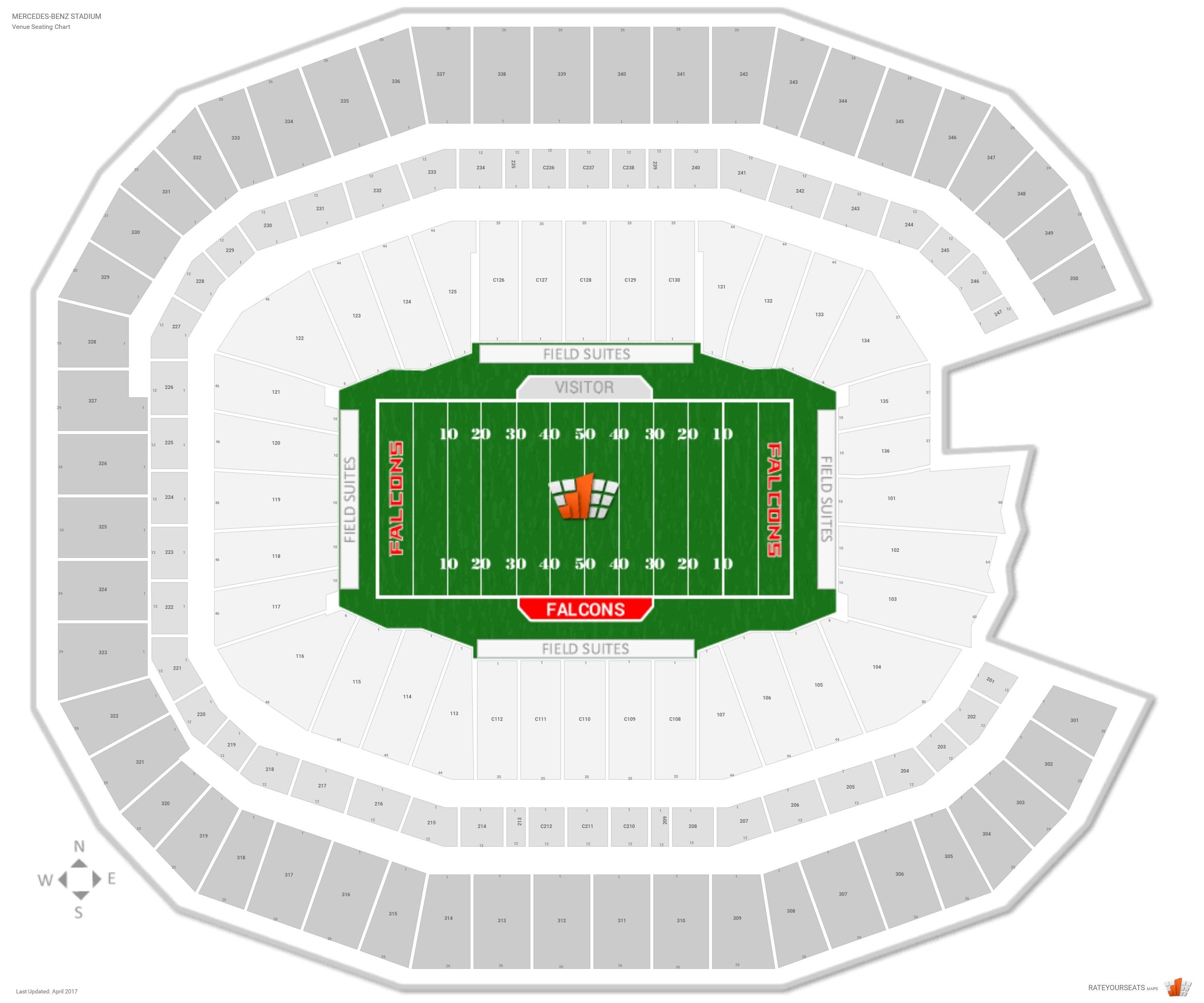 Atlanta Falcons Seating Guide - Mercedes-Benz Stadium with Atlanta Super Bowl Stadium Seating Chart