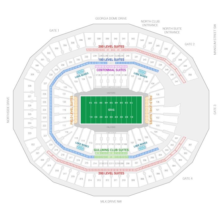 Atlanta Falcons Suite Rentals   Mercedes-Benz Stadium regarding Mercedes Benz Stadium Super Bowl Map