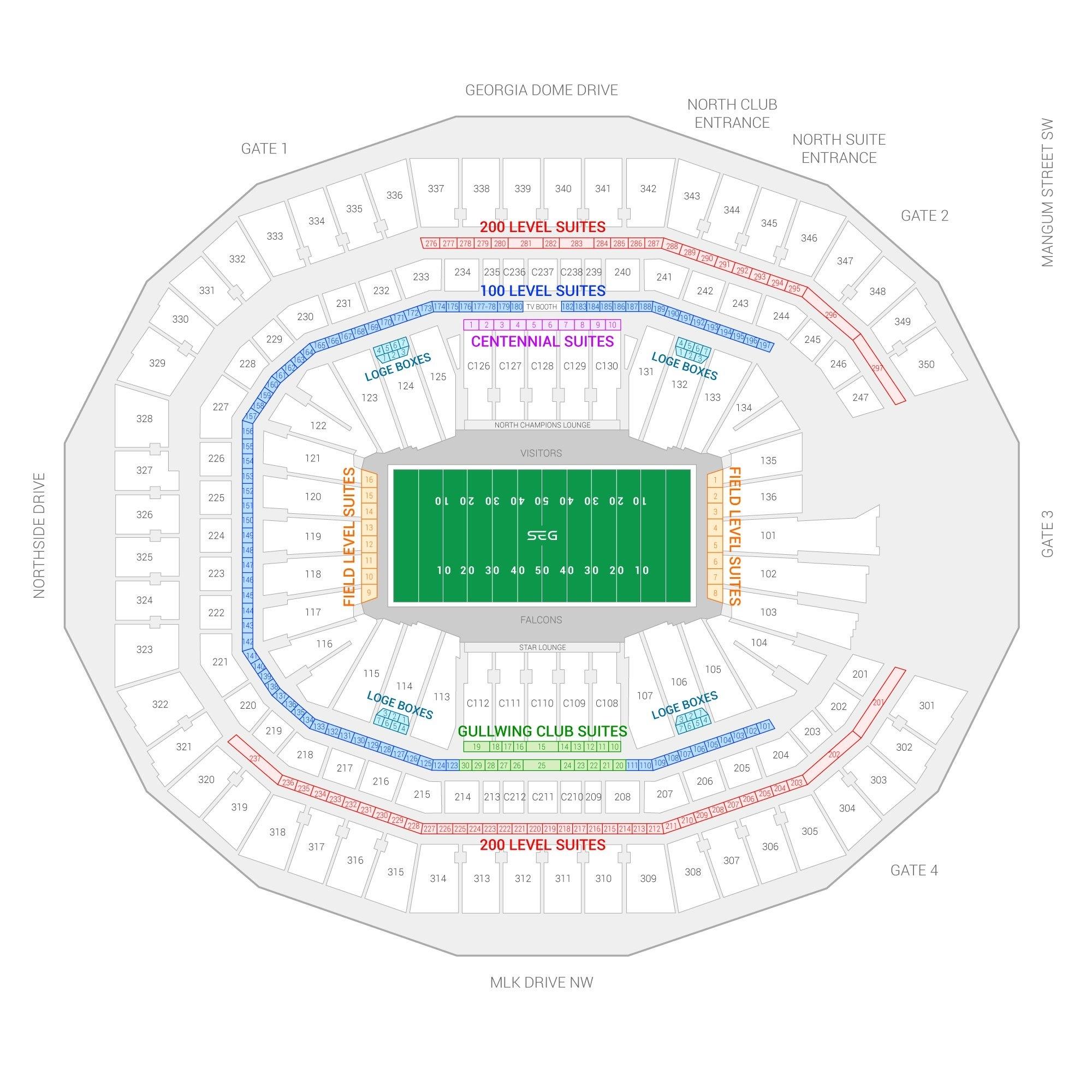 Atlanta Falcons Suite Rentals | Mercedes-Benz Stadium regarding Mercedes Benz Stadium Super Bowl Map