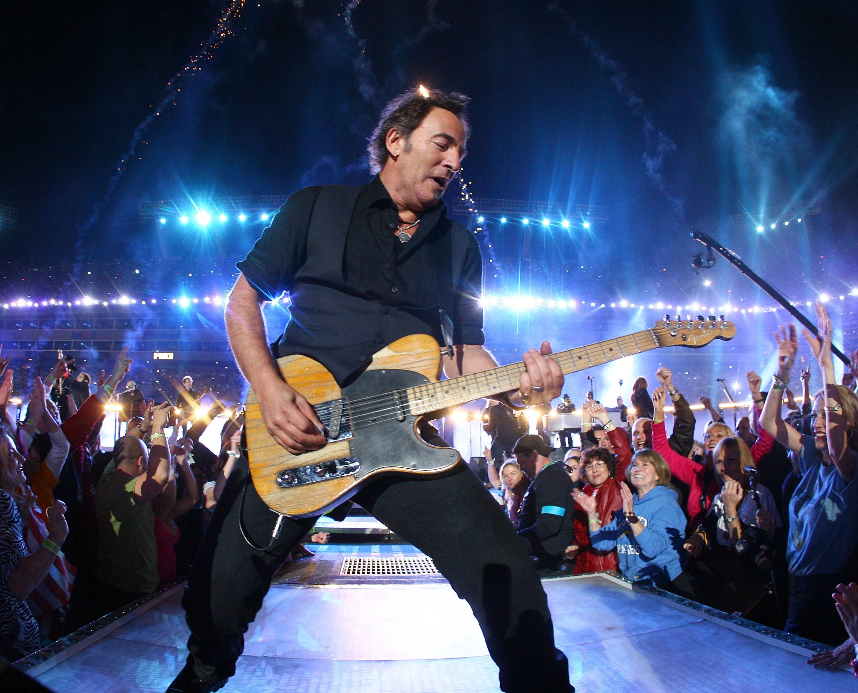 Bossbowl Jamiesquire #brucespringsteen #oraclearena #oakland with Bruce Springsteen Super Bowl