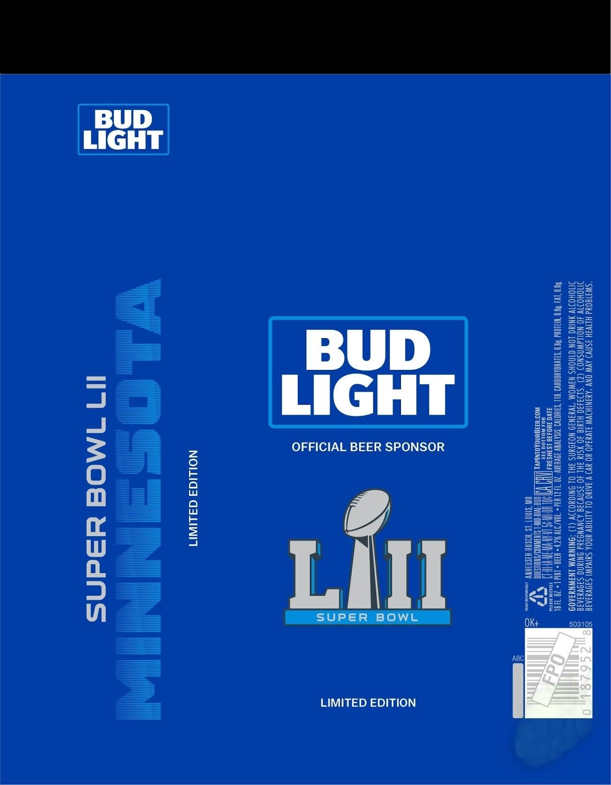 Bud Light - Super Bowl Lii Minnesota Cans - Mybeerbuzz inside Bud Light Super Bowl