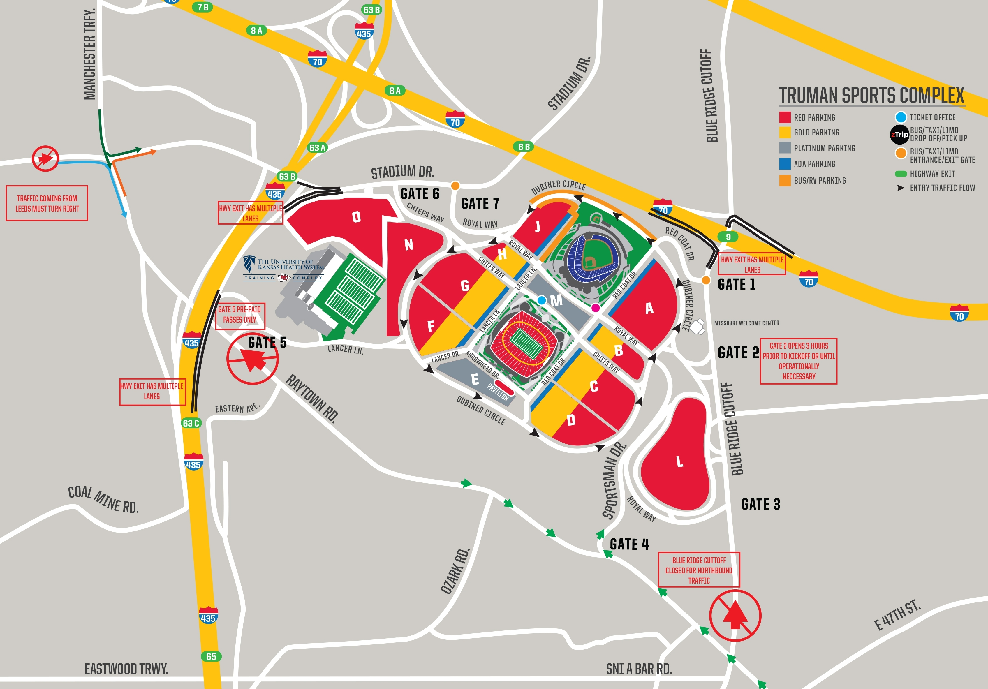 Chiefs Parking & Tailgating - Directions & Maps   Kansas in Super Bowl Game Day Map