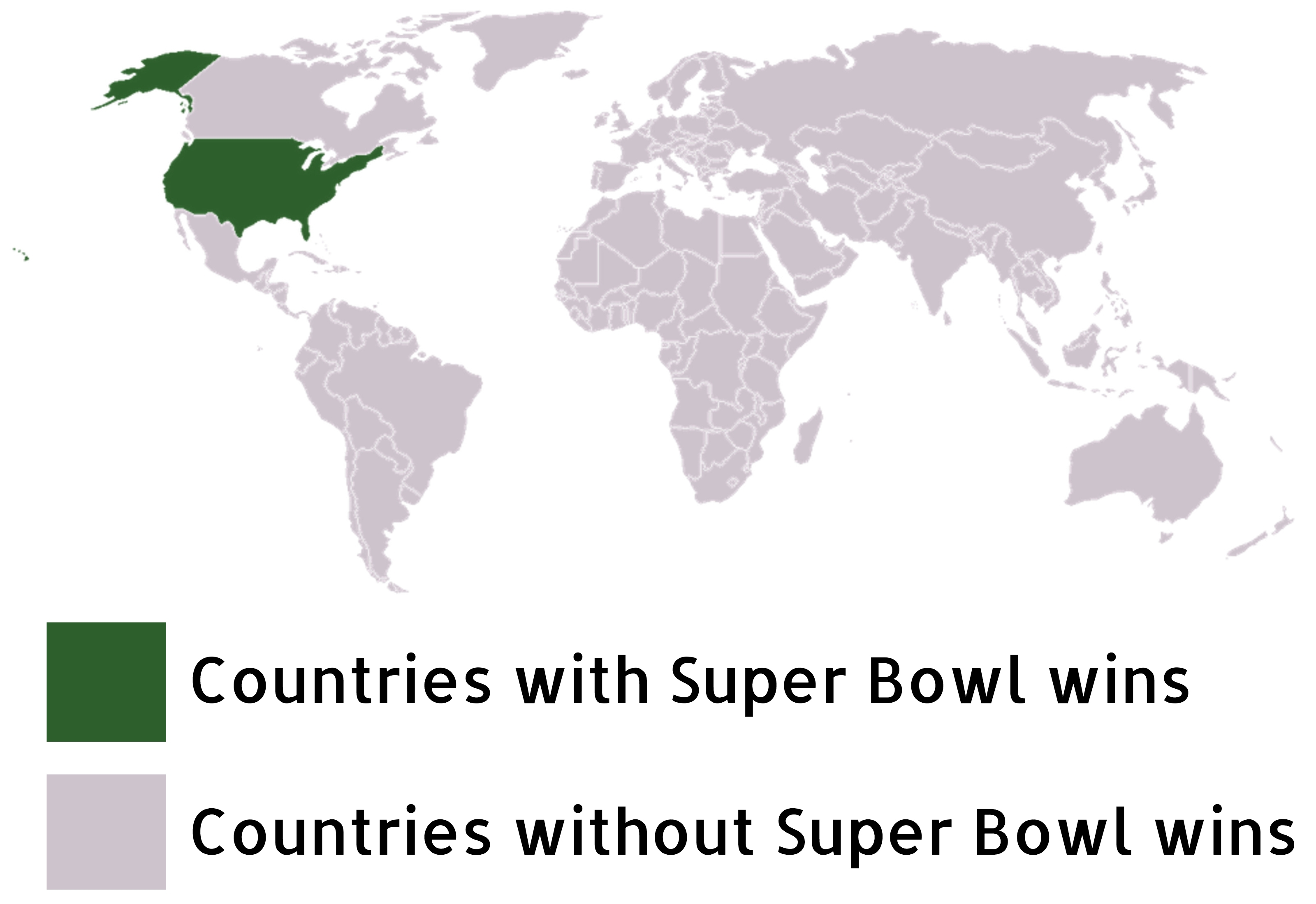 Color-Coded World Map Of Super Bowl Winners : Shittymapporn in Map Of Super Bowl Wins