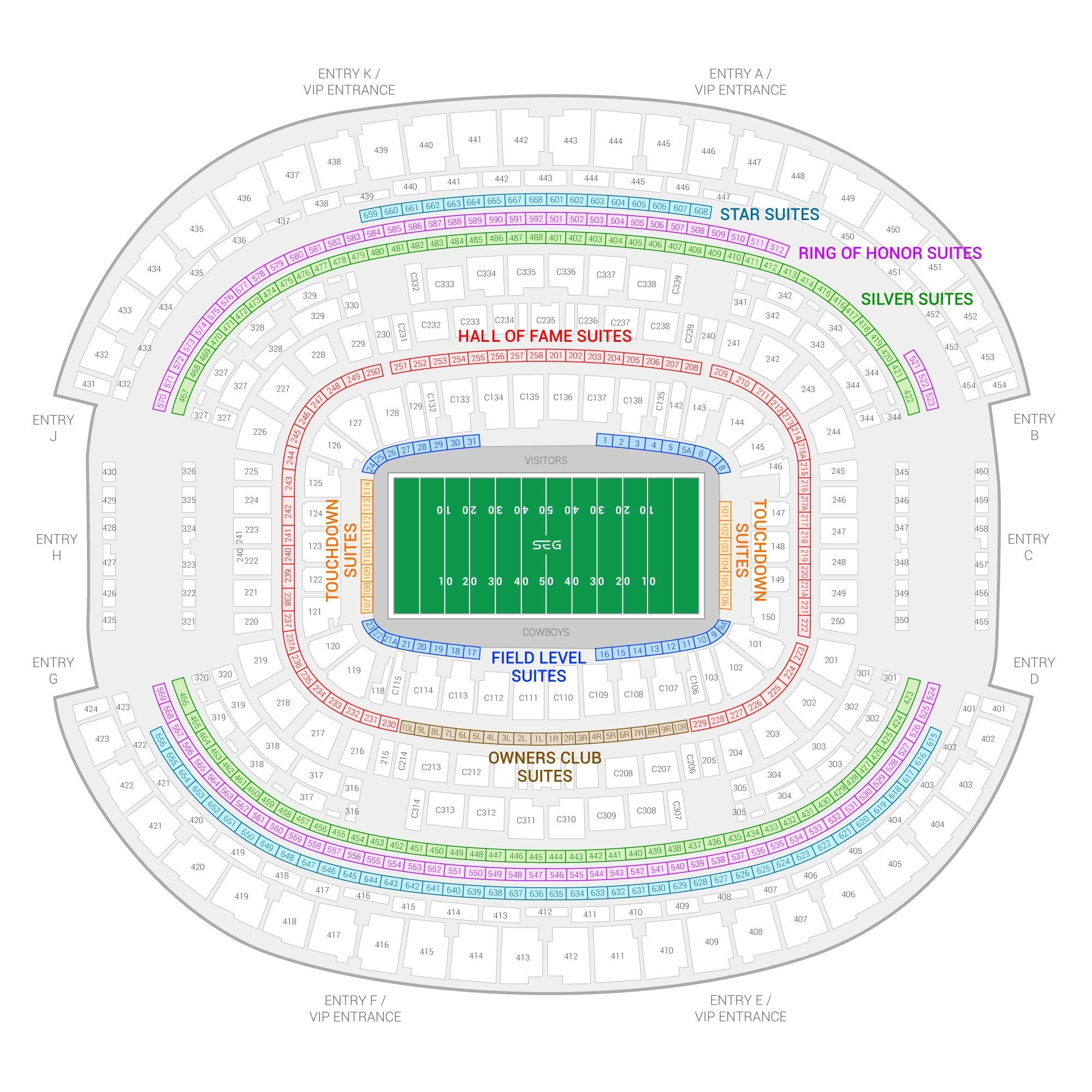 Dallas Cowboys Suite Rentals | At&t Stadium with Super Bowl Seating Chart 2018