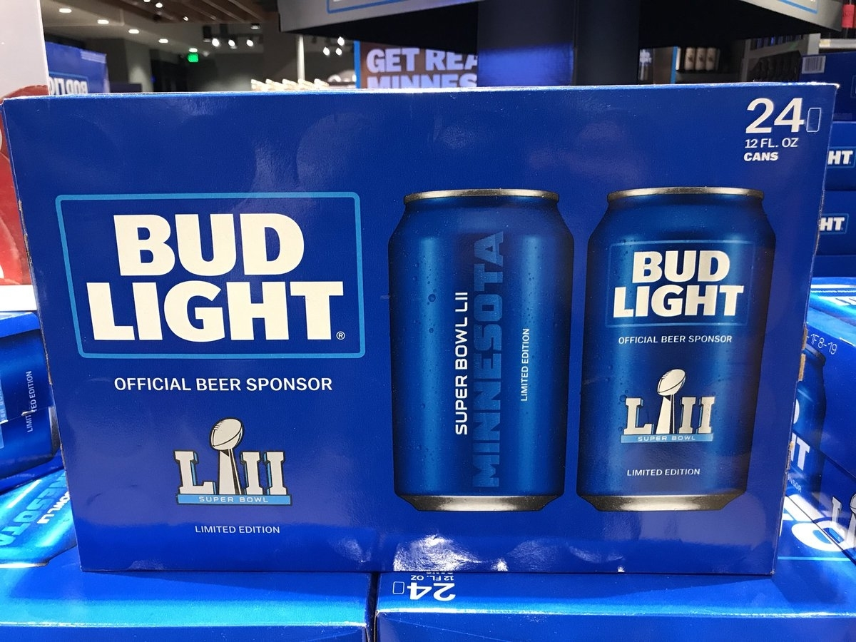 "Darren Rovell On Twitter: ""super Bowl Lii Bud Light Cans (24 inside Bud Light Super Bowl"
