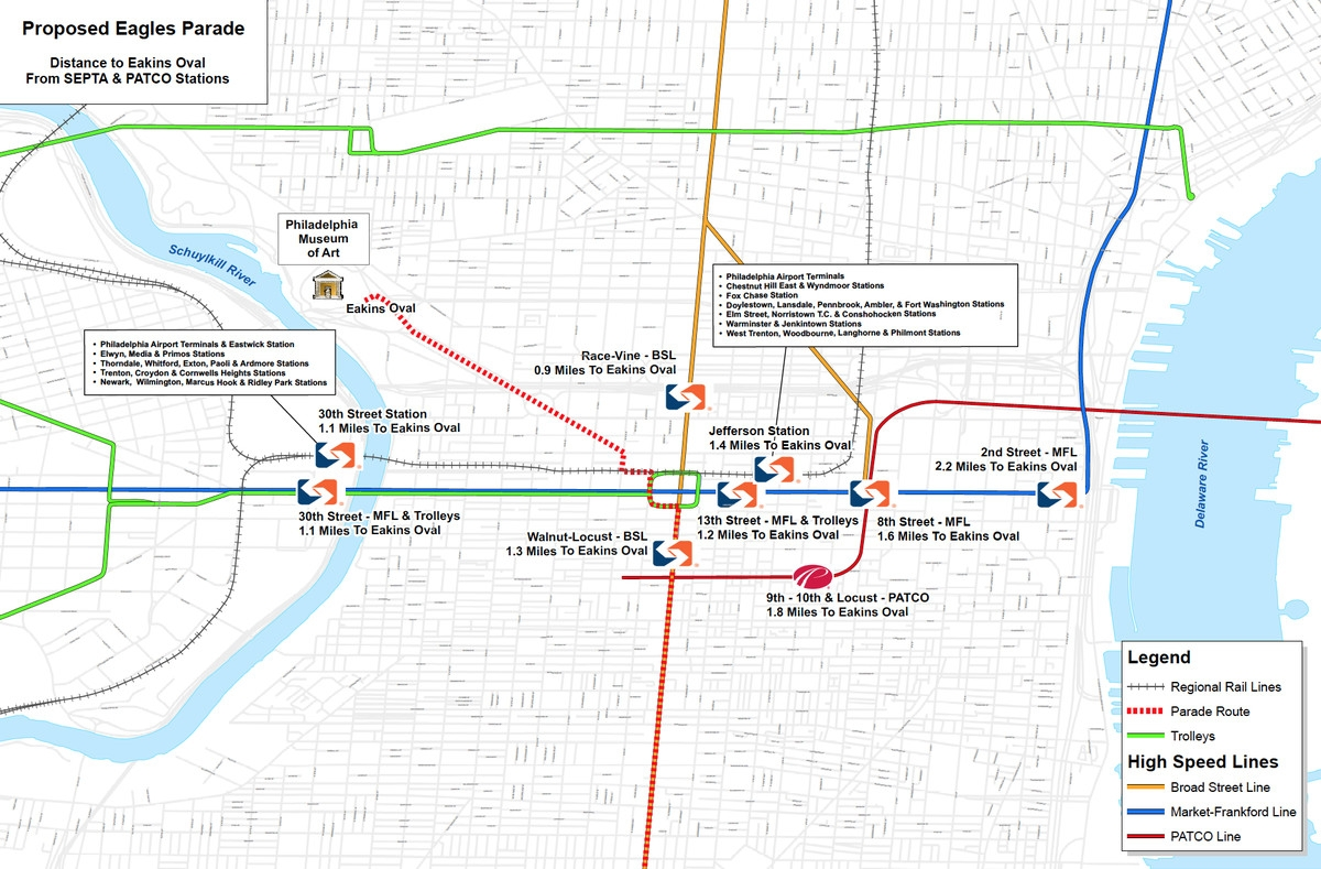 Eagles Super Bowl Victory Parade: Everything You Need To for Super Bowl Parade Route Map