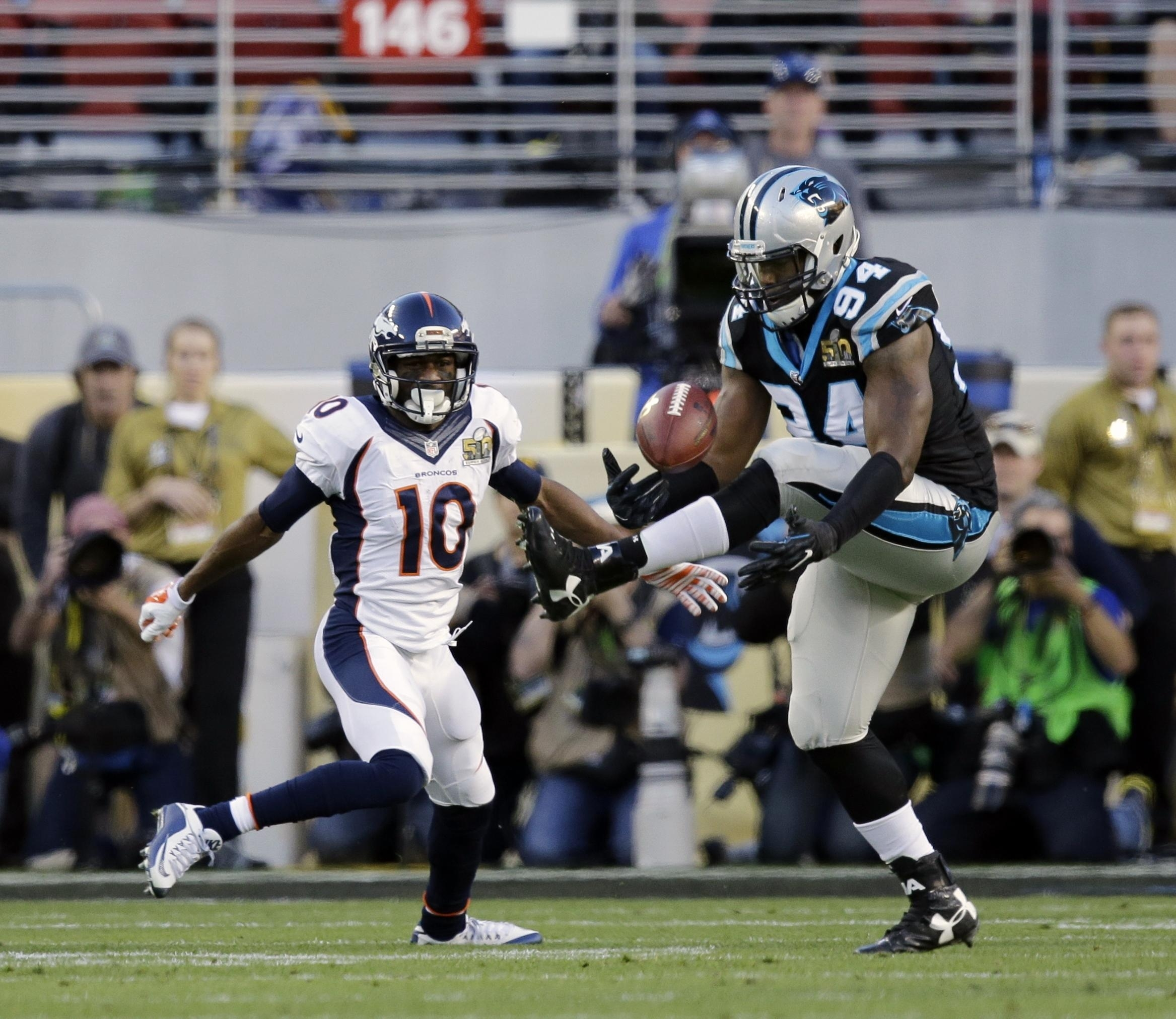 Ealy Does It All On Defense In Panthers Super Bowl Defeat in Carolina Panthers Super Bowl