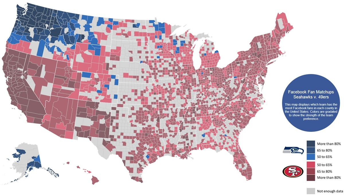 Facebook Map Shows America Was Rooting For The Seahawks regarding Map Of Super Bowl Rooting