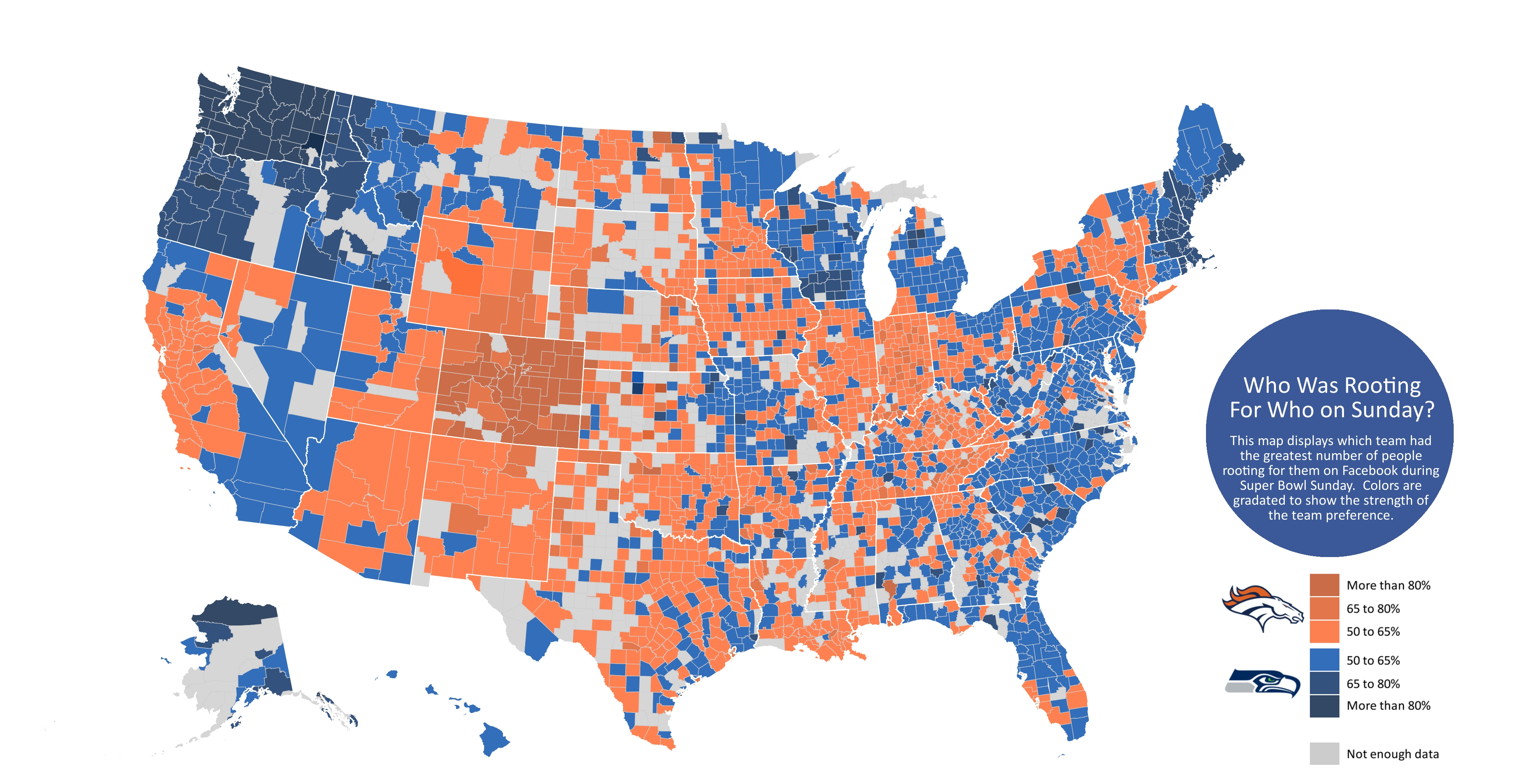 Facebook Maps Super Bowl Fan Engagement From 185 Million throughout Super Bowl Rooting Map