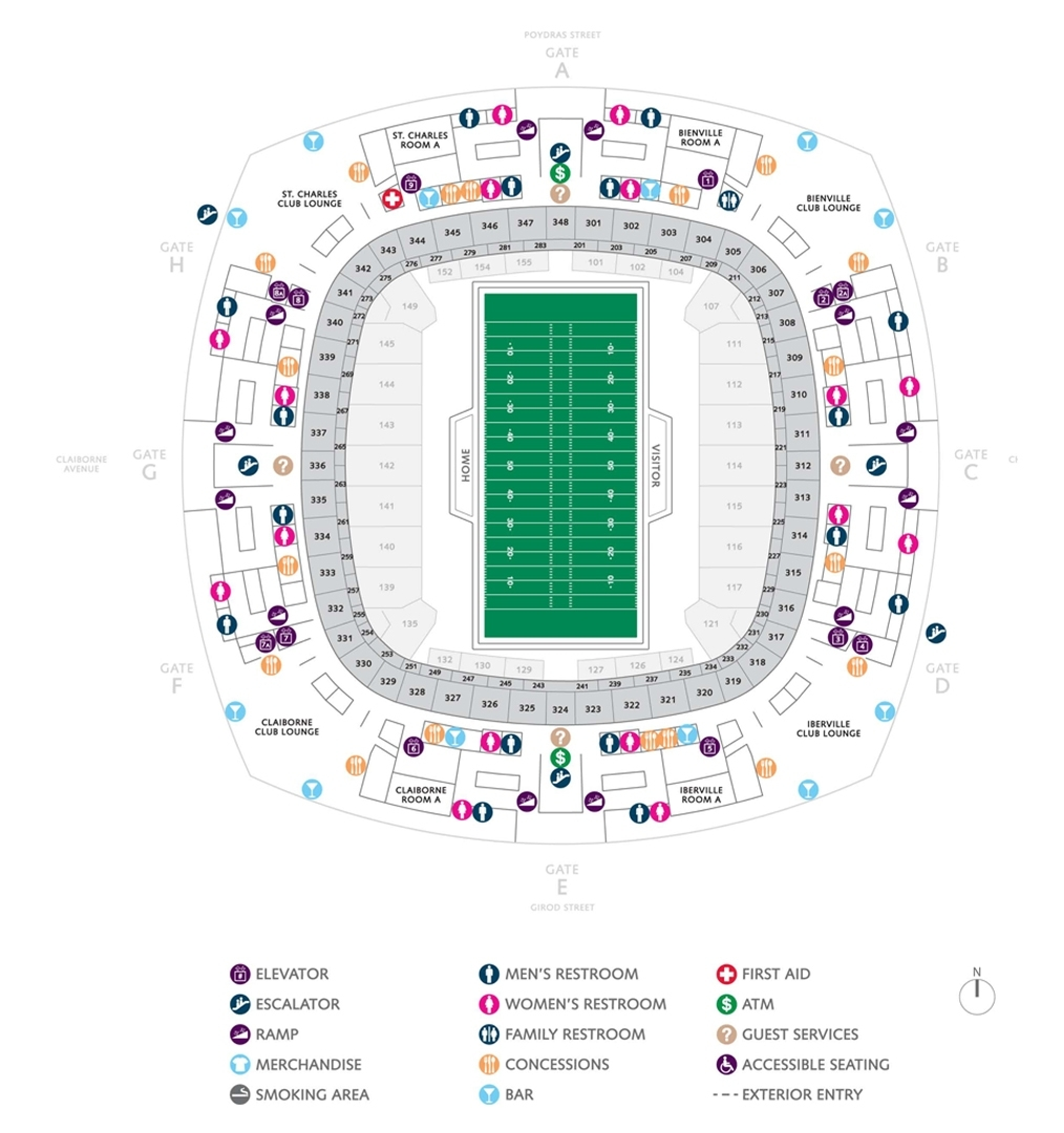 Football Seating Charts   Mercedes-Benz Superdome for New Orleans Super Bowl Seating Chart