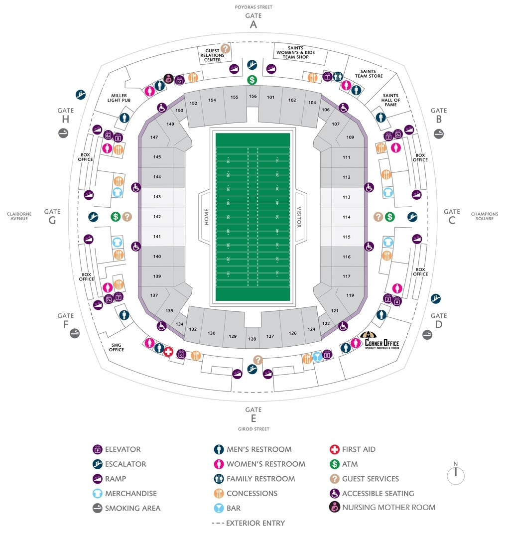 Football Seating Charts | Mercedes-Benz Superdome in Super Bowl Stadium 2019 Seating Chart