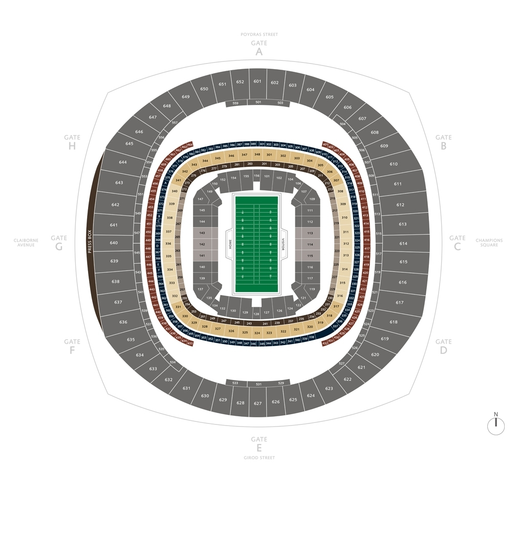 Football Seating Charts   Mercedes-Benz Superdome inside New Orleans Super Bowl Seating Chart