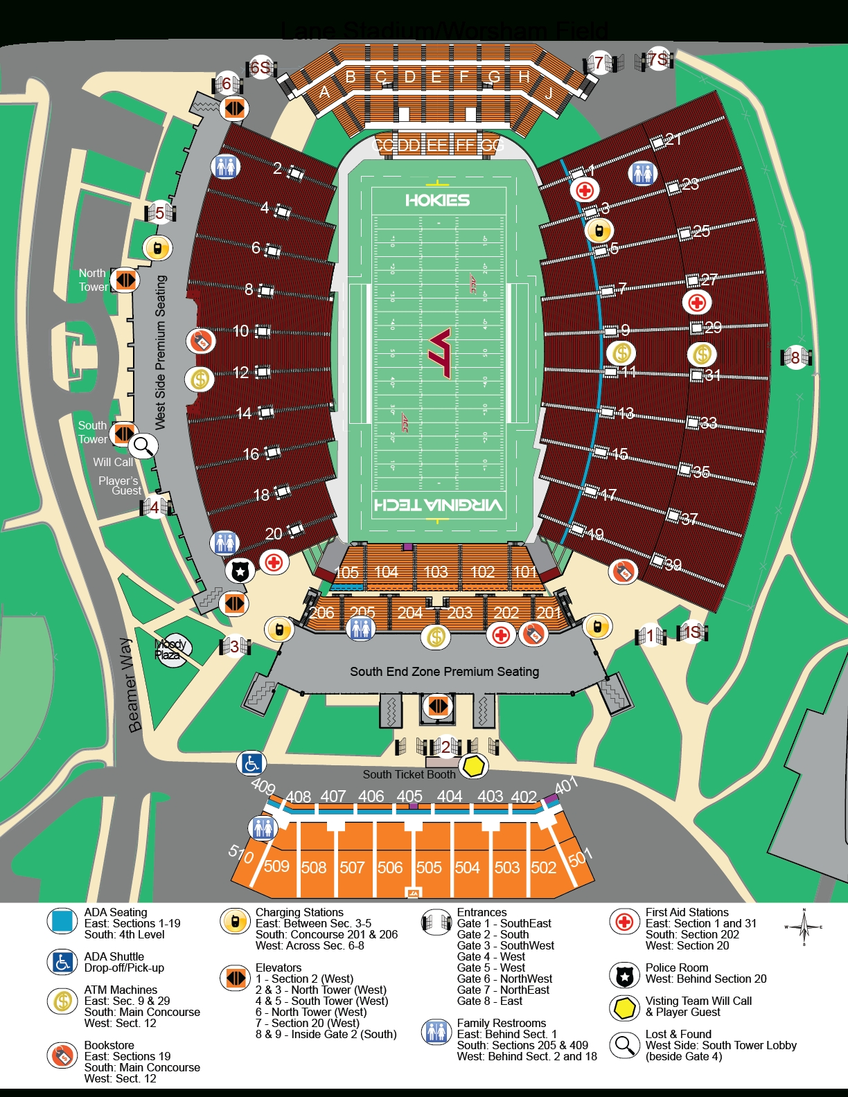 Football Seating & Parking Maps - Virginia Tech Athletics throughout Super Bowl 2019 Seating Chart