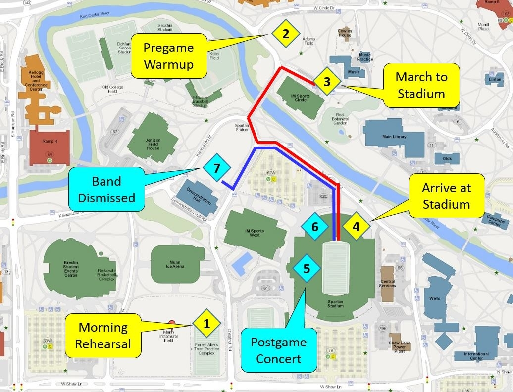 Game Day Schedule | Spartan Marching Band pertaining to Super Bowl Game Day Map